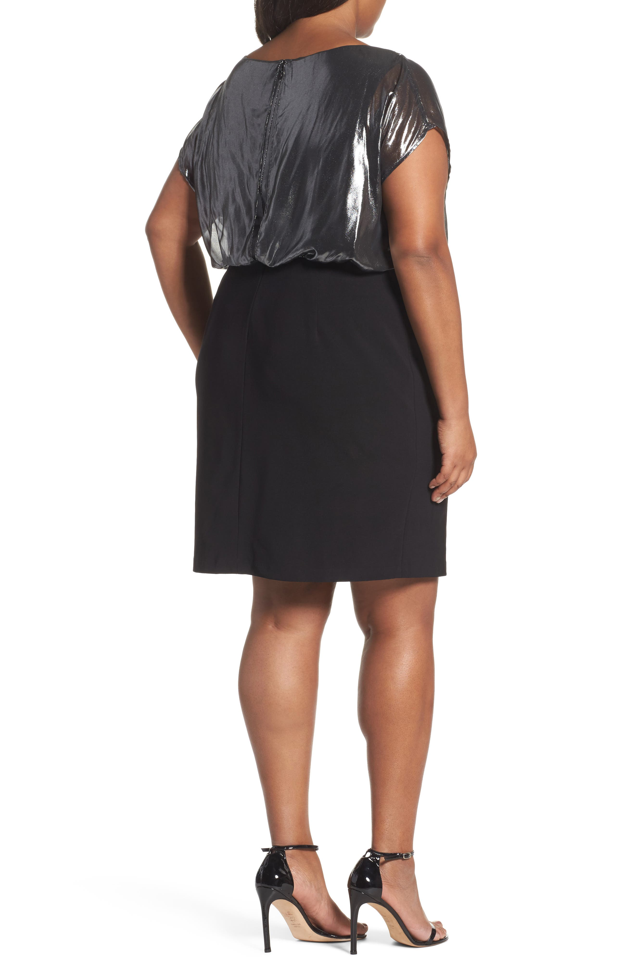 Foiled Blouson Dress,                             Alternate thumbnail 2, color,                             Gunmetal/ Black