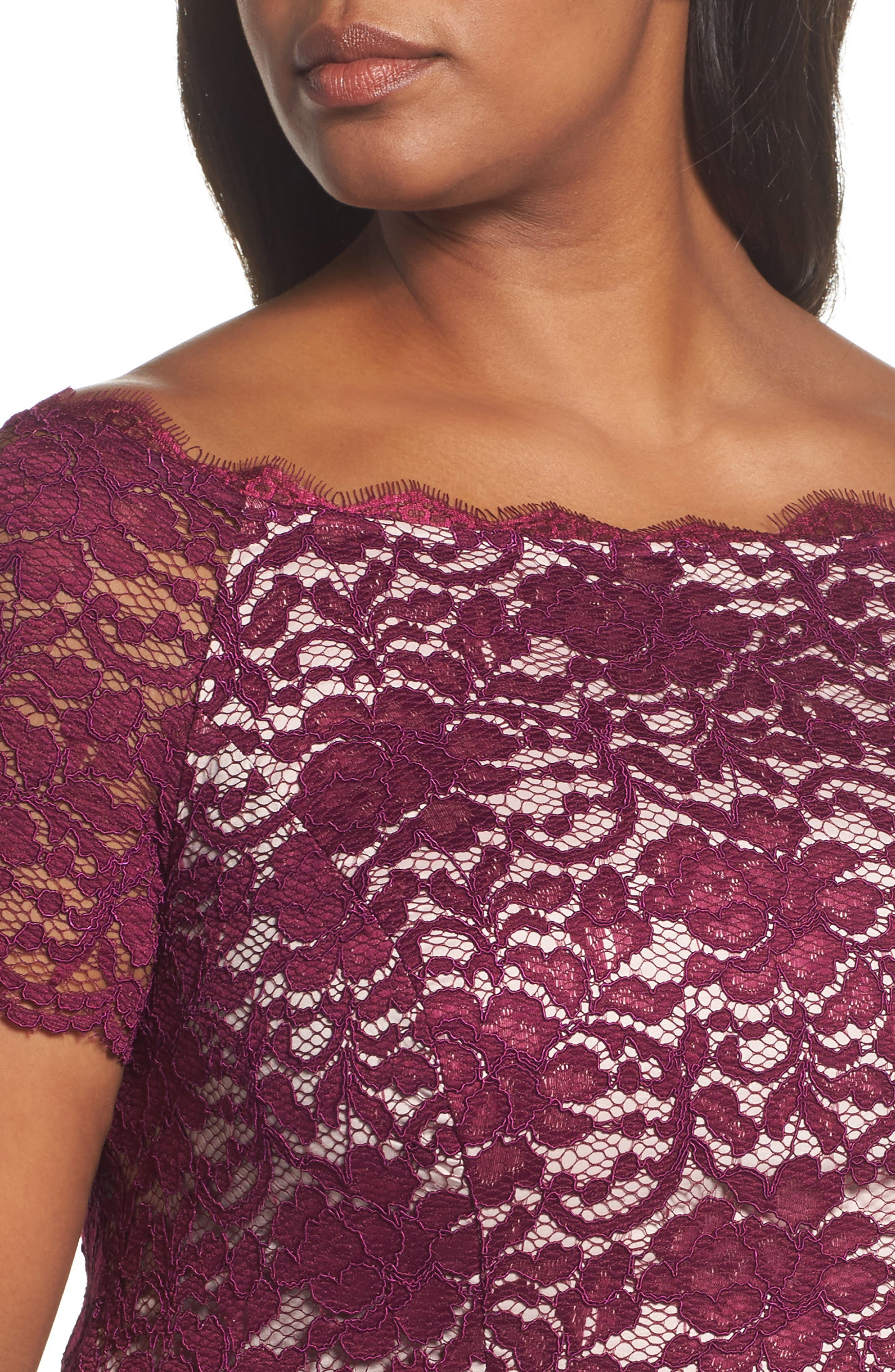 Alternate Image 4  - Adrianna Papell Fit & Flare Lace Dress (Plus Size)