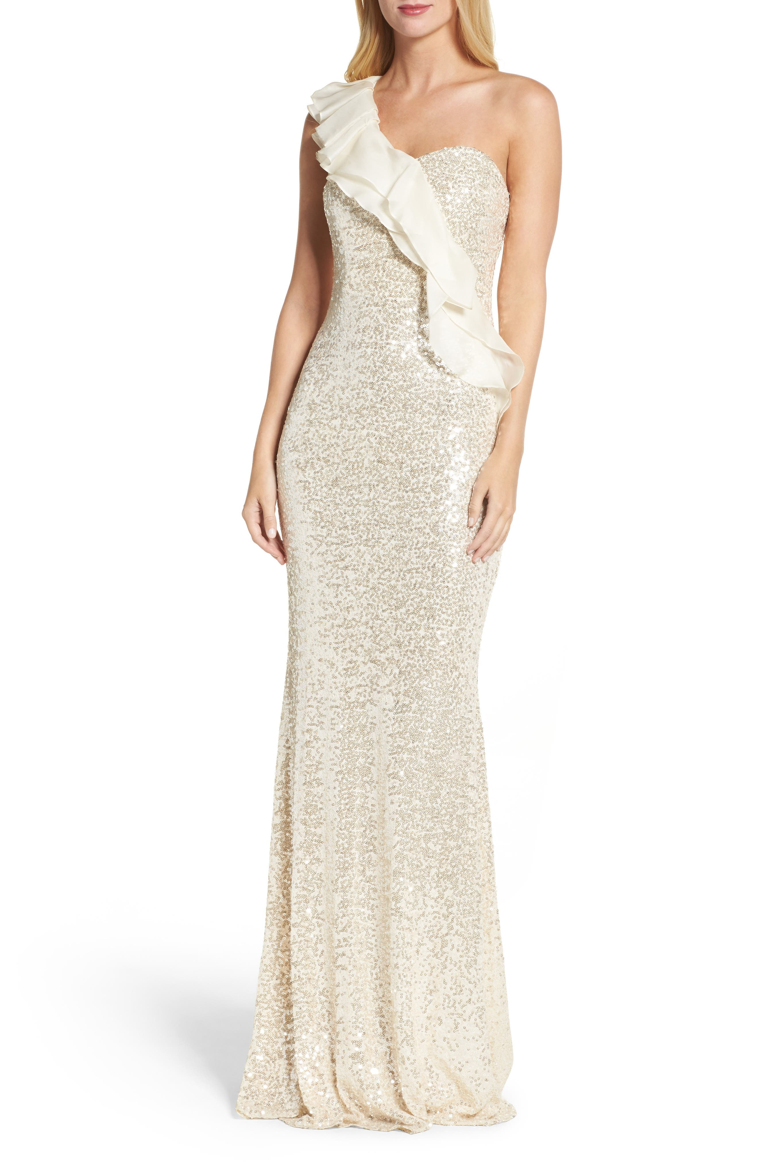 Ruffle Sequin One-Shoulder Gown,                         Main,                         color, Champagne