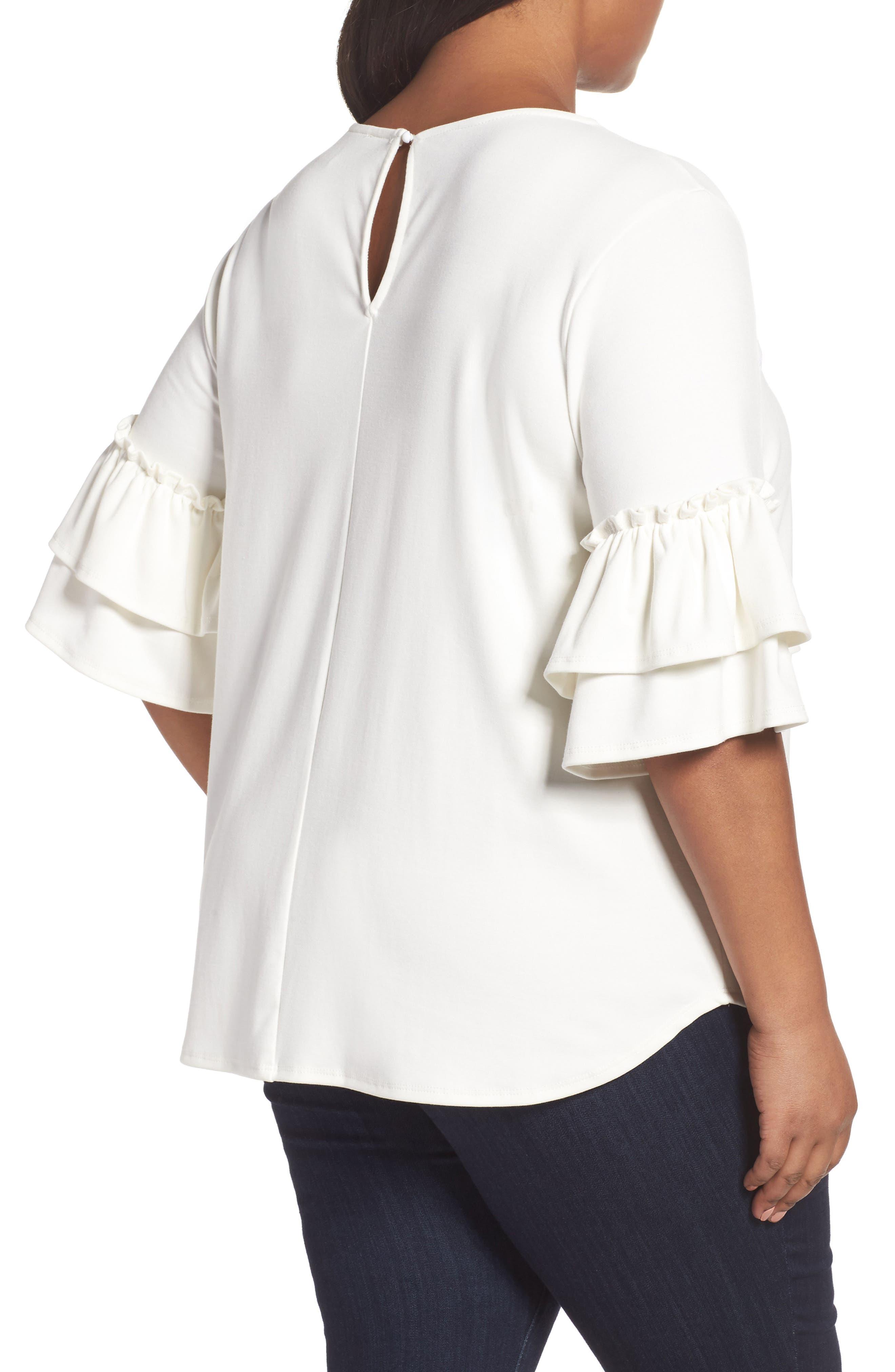 Alternate Image 2  - Sejour Double Ruffle Sleeve Top (Plus Size)