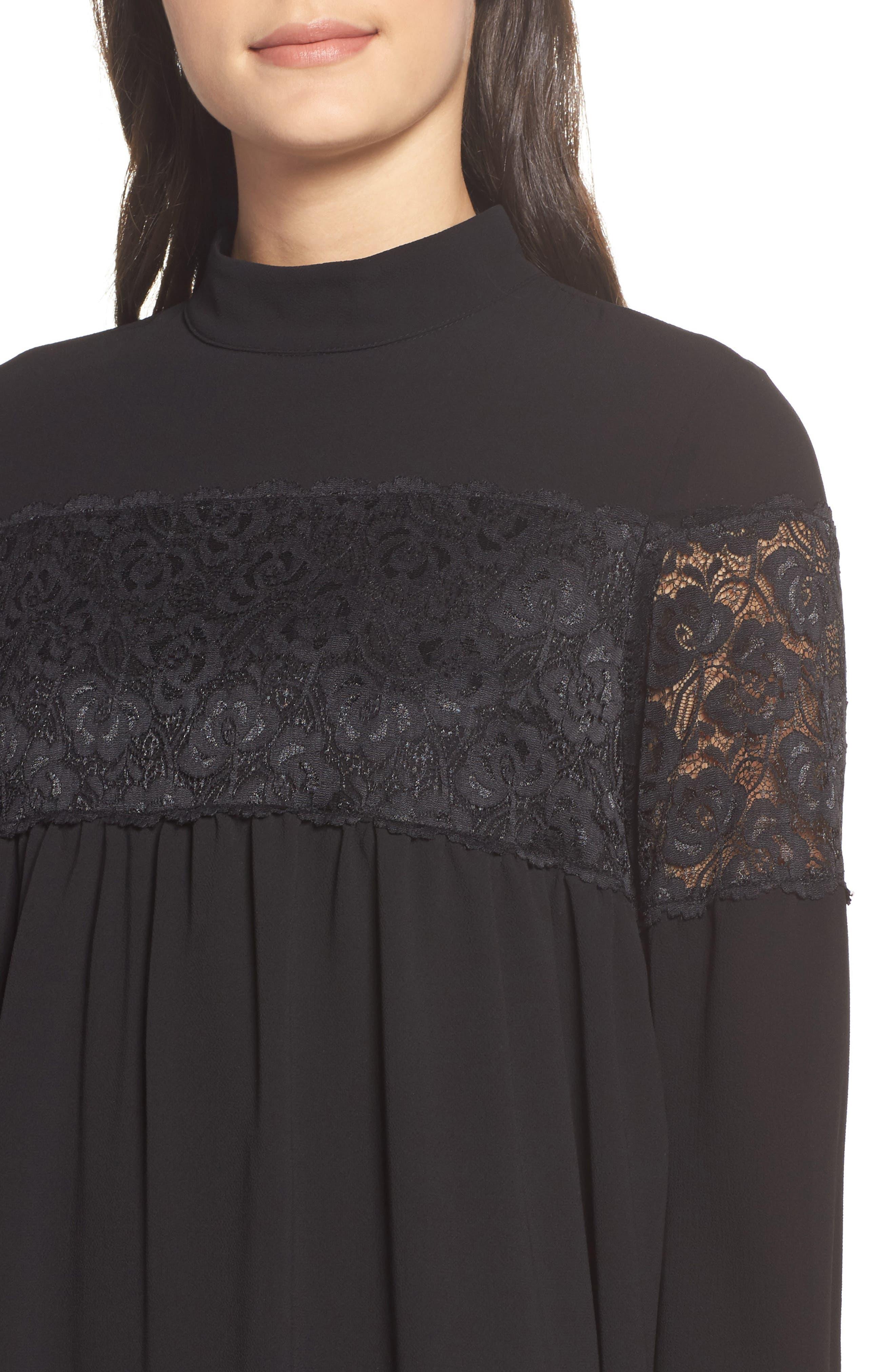 Mock Neck Shift Dress,                             Alternate thumbnail 4, color,                             Black