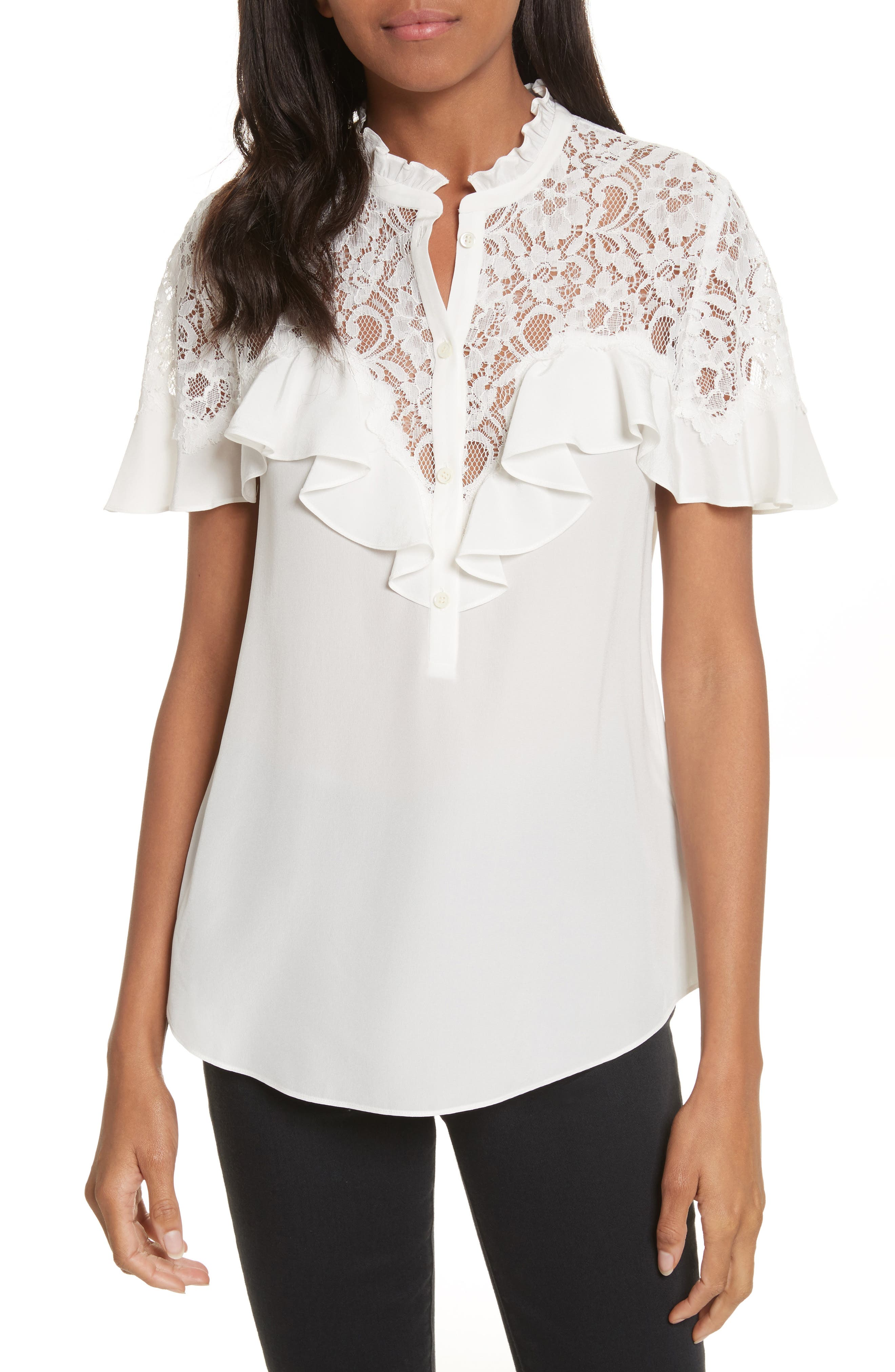 Alternate Image 1 Selected - Rebecca Taylor Silk & Lace Blouse