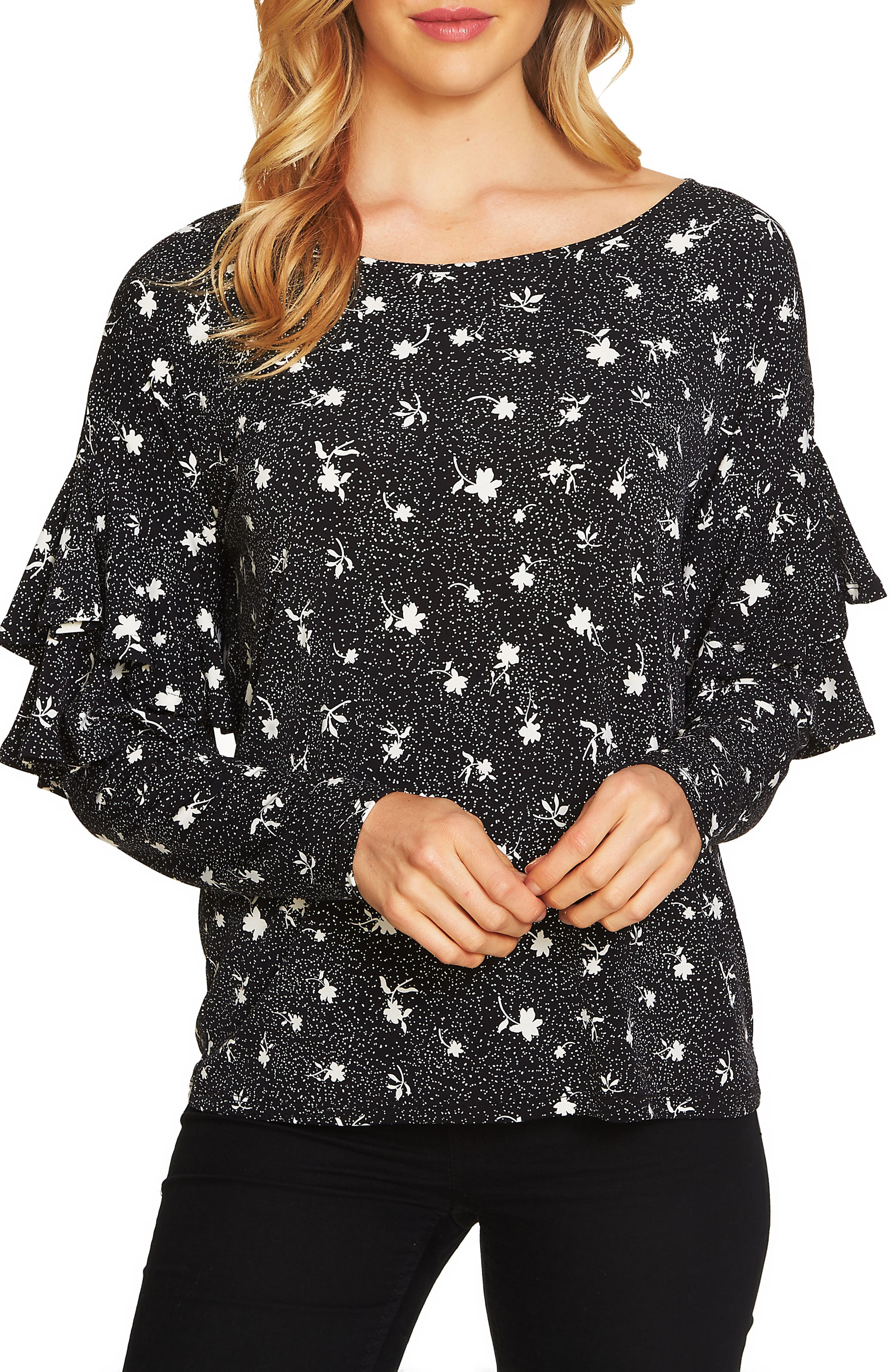 Dotty Tiered Ruffle Sleeve Top,                         Main,                         color, Rich Black