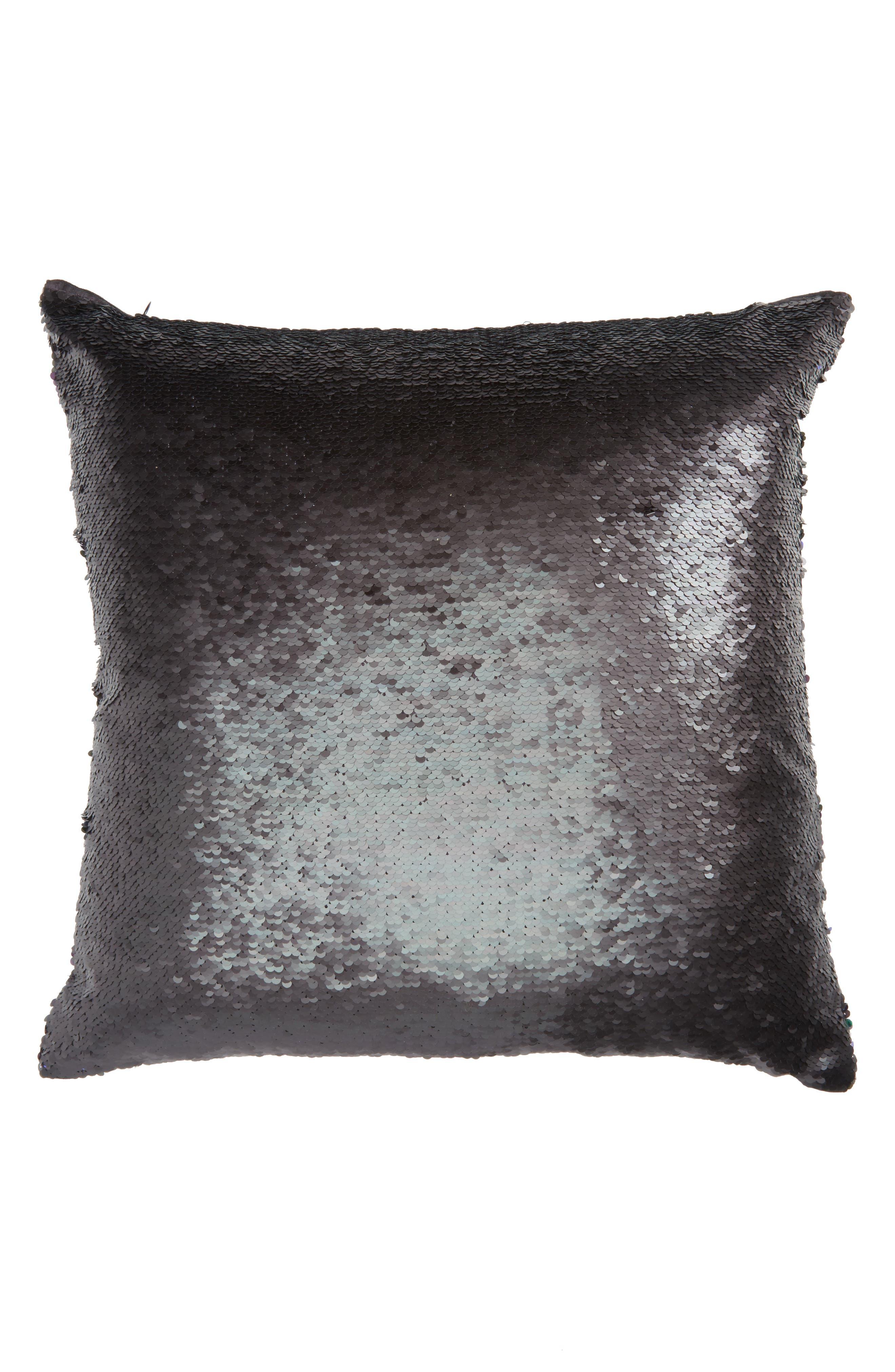 Sequin Pillow,                             Alternate thumbnail 3, color,                             Black