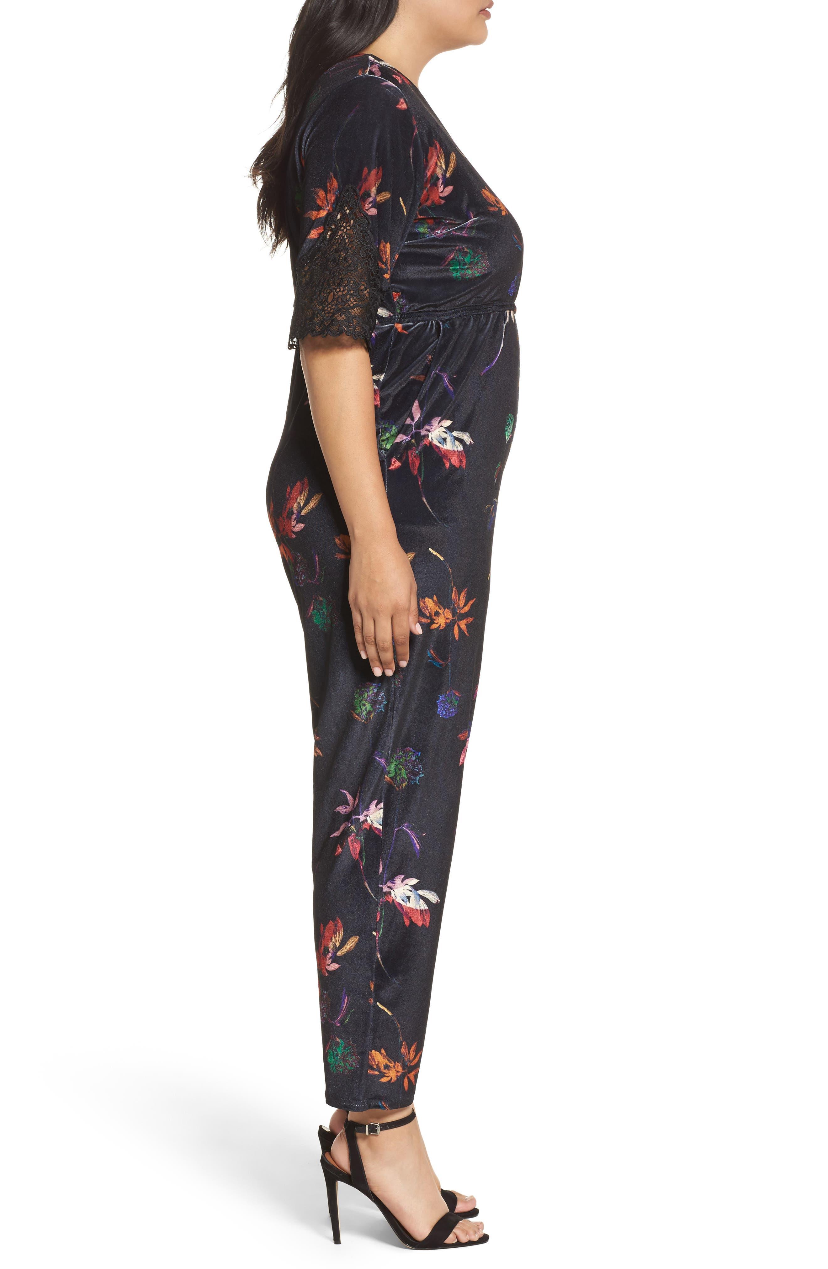 Alternate Image 3  - LOST INK Velvet Floral Jumpsuit (Plus Size)