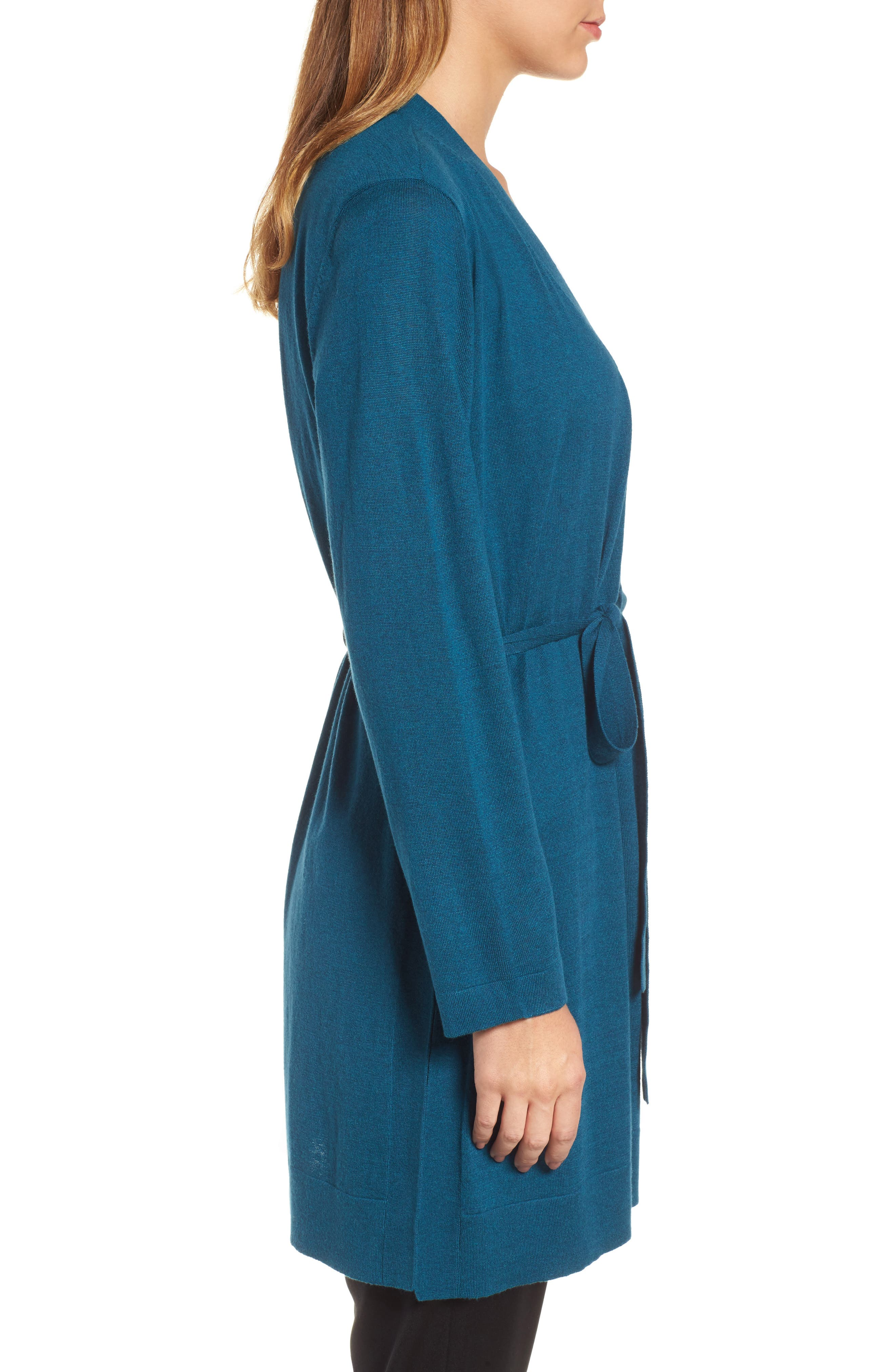 Tie Waist Tencel<sup>®</sup> Lyocell Blend Cardigan,                             Alternate thumbnail 3, color,                             Blue Spruce