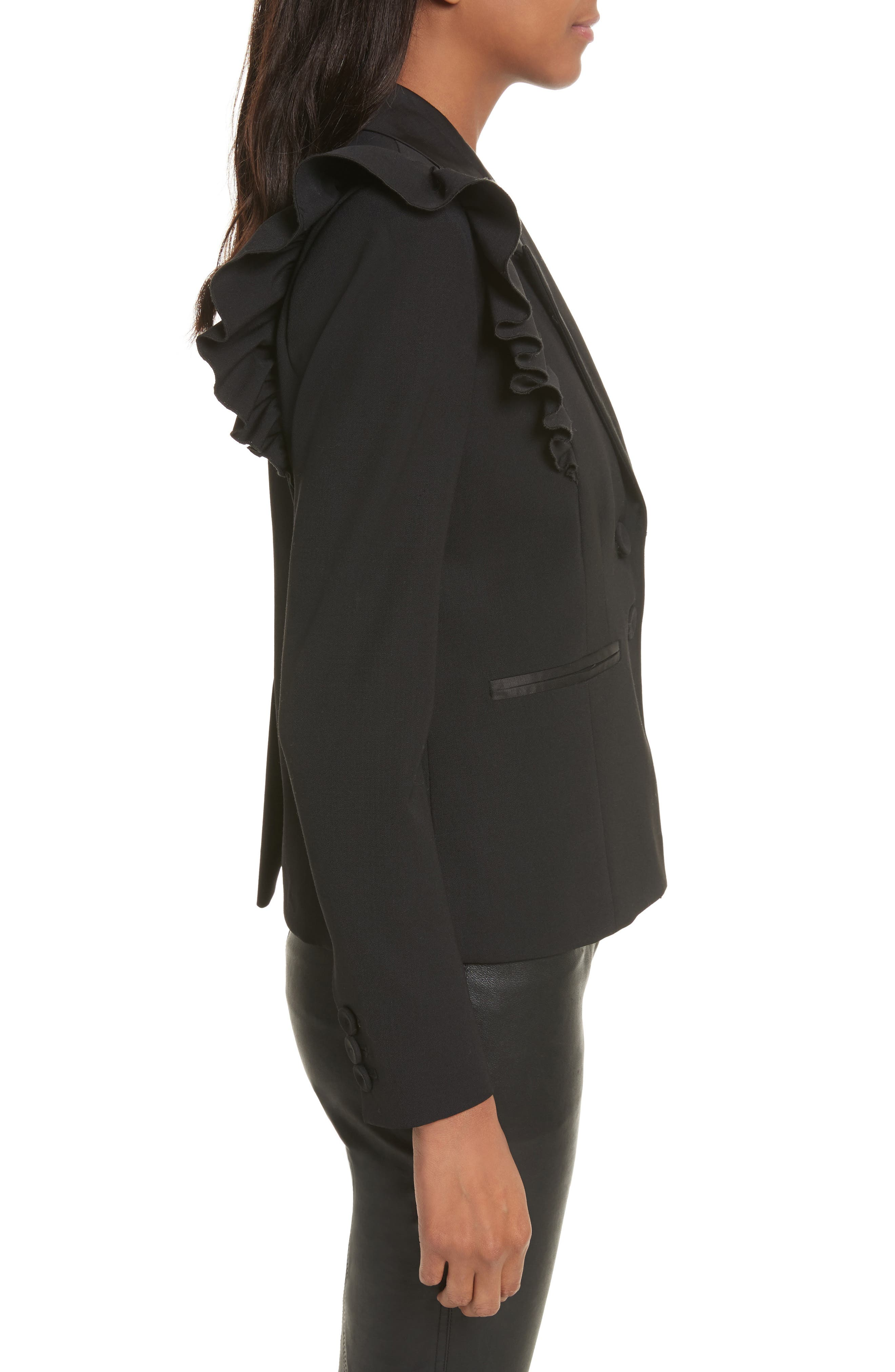 Ruffle Stretch Wool Jacket,                             Alternate thumbnail 3, color,                             Black