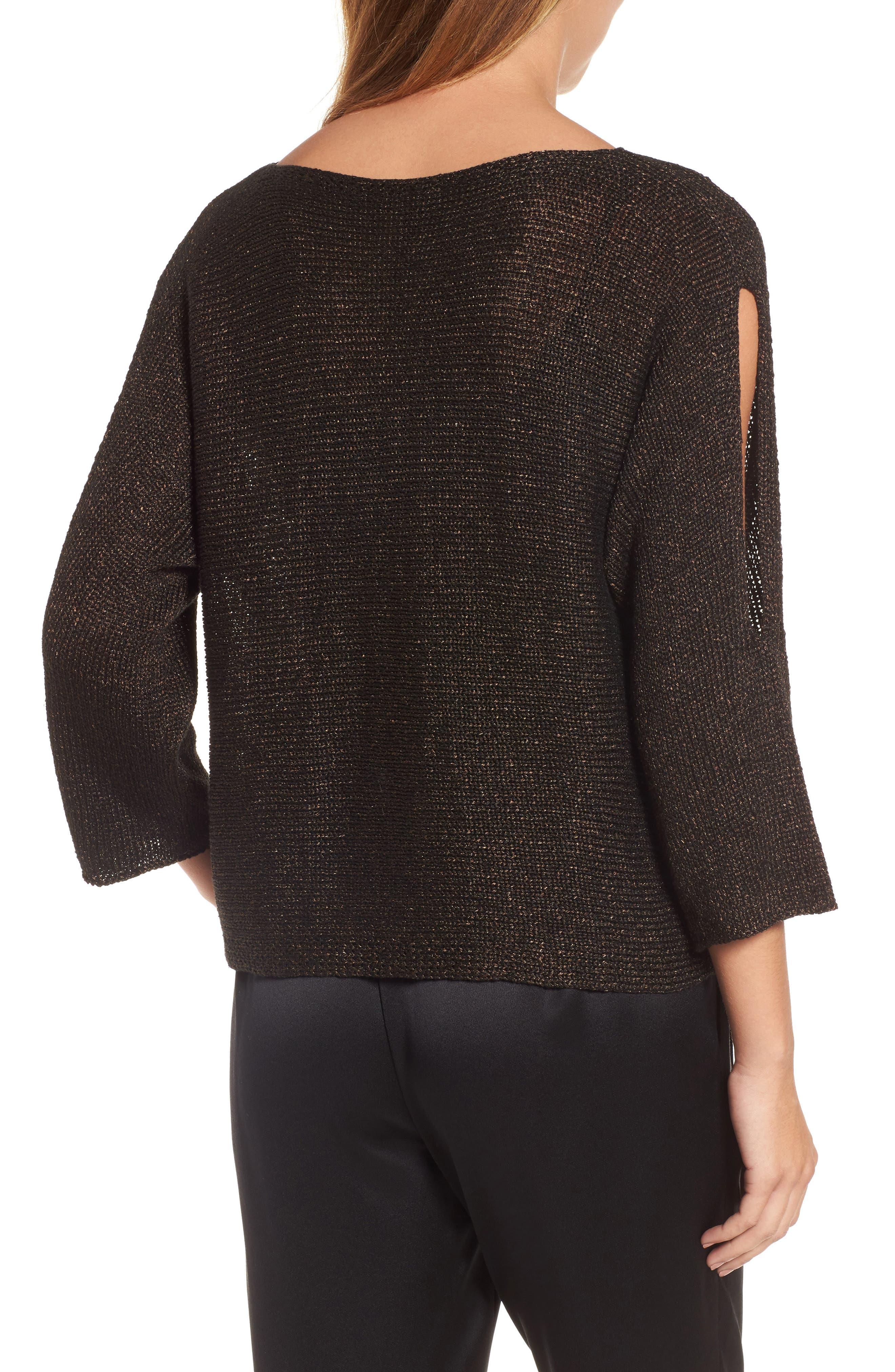 Alternate Image 2  - Eileen Fisher Metallic Organic Linen Blend Sweater (Regular & Petite)