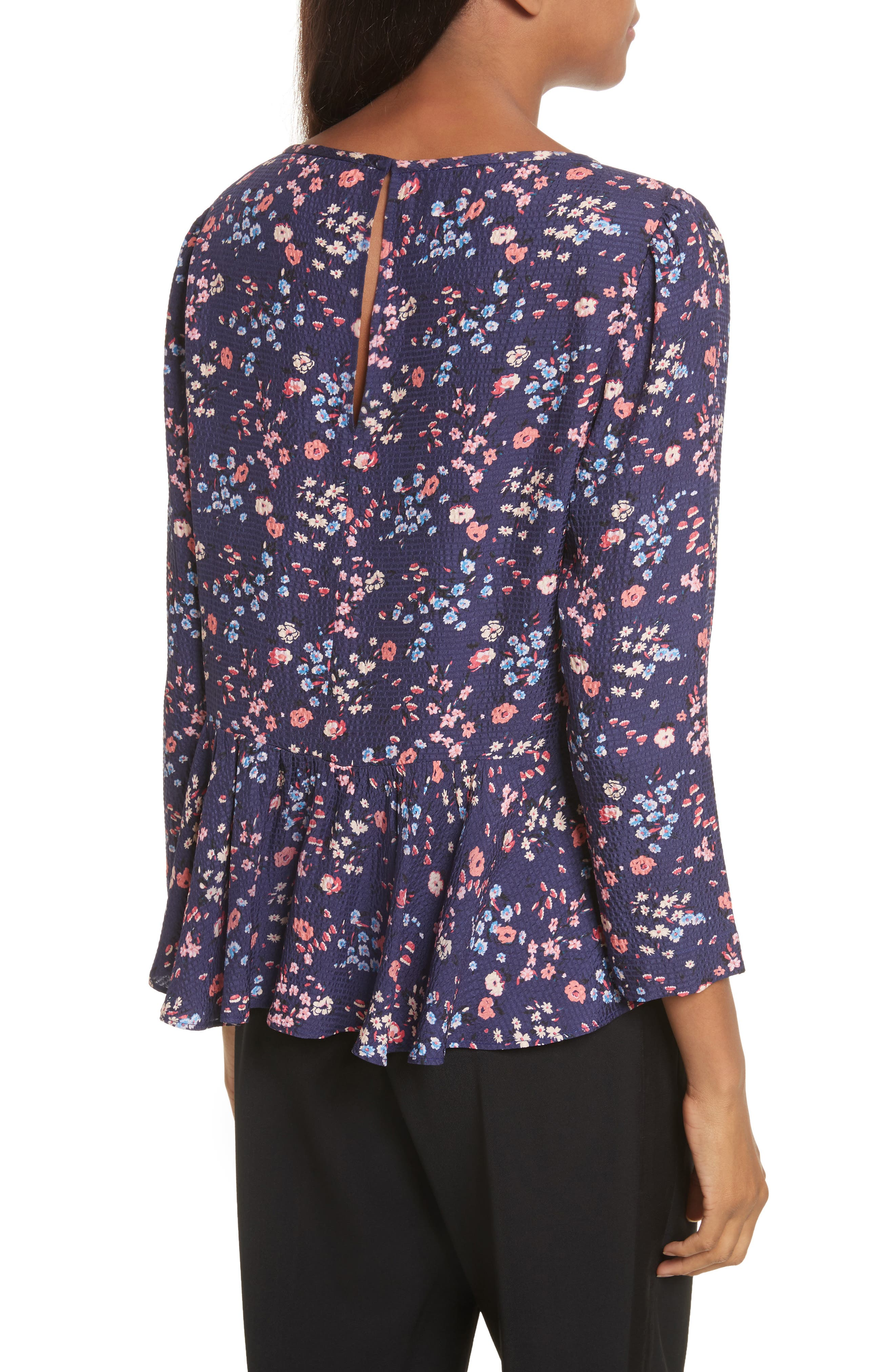 Woodland Floral Print Silk Top,                             Alternate thumbnail 2, color,                             Deep Violet Combo
