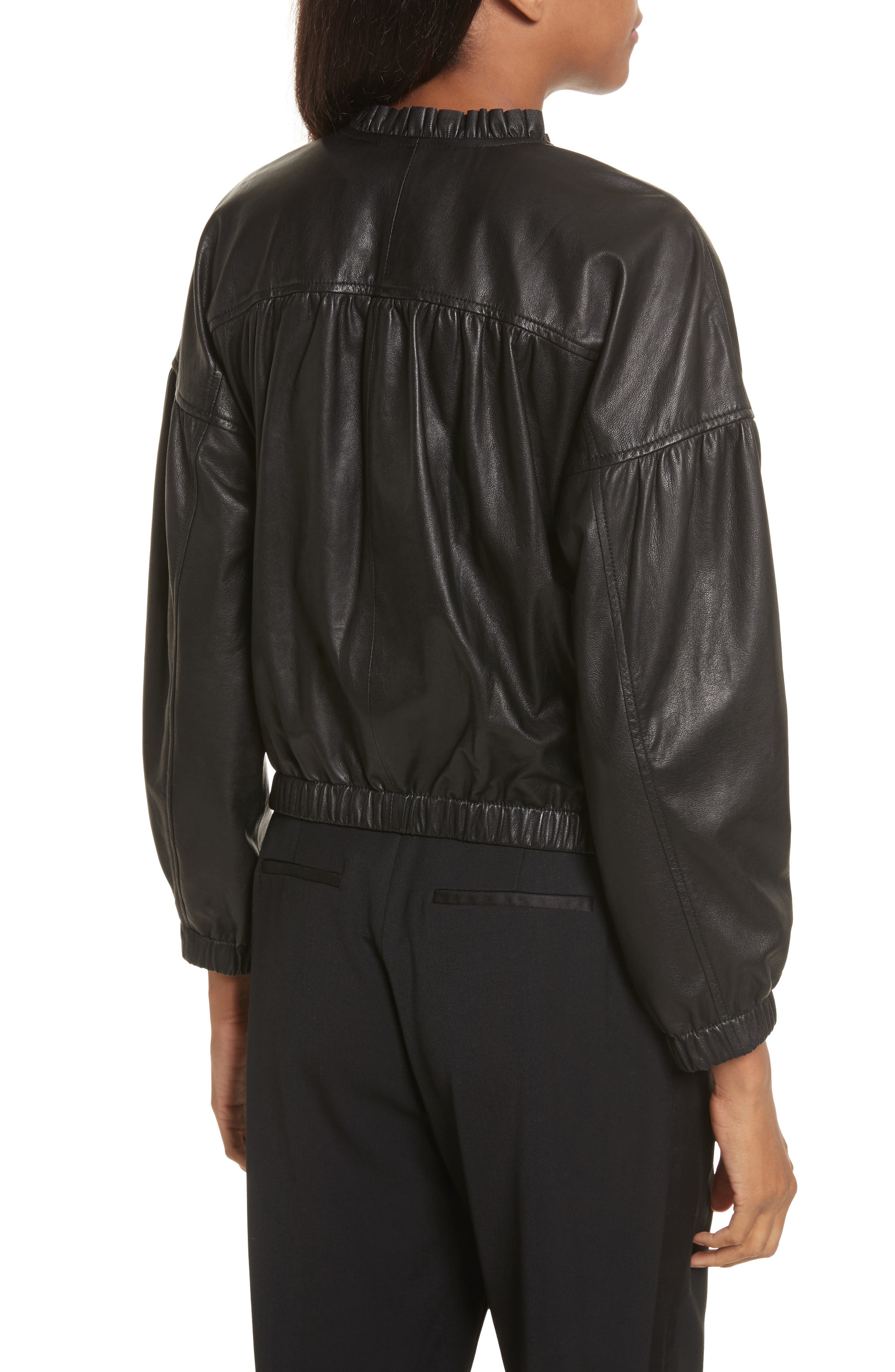 Leather Bomber Jacket,                             Alternate thumbnail 2, color,                             Black