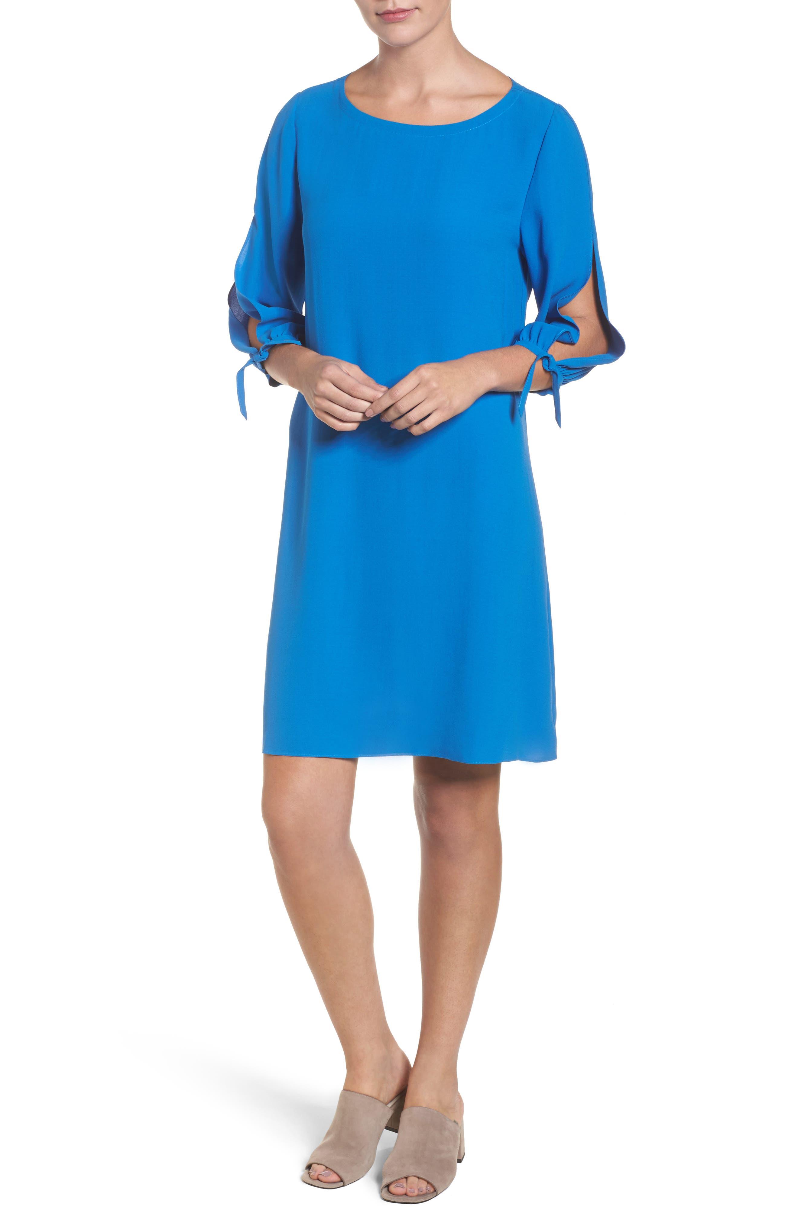 Silk Shift Dress,                         Main,                         color, Catalina