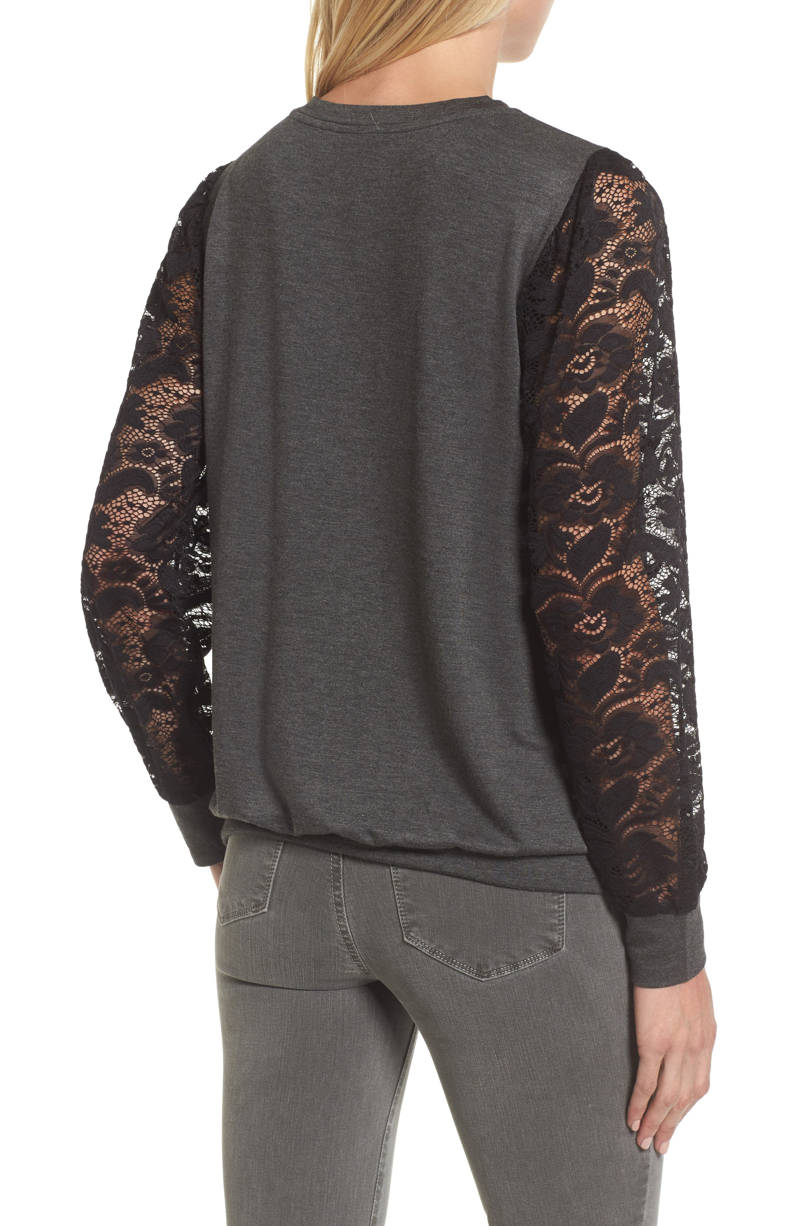 Lace Sleeve Sweatshirt,                             Alternate thumbnail 2, color,                             Dark Charcoal