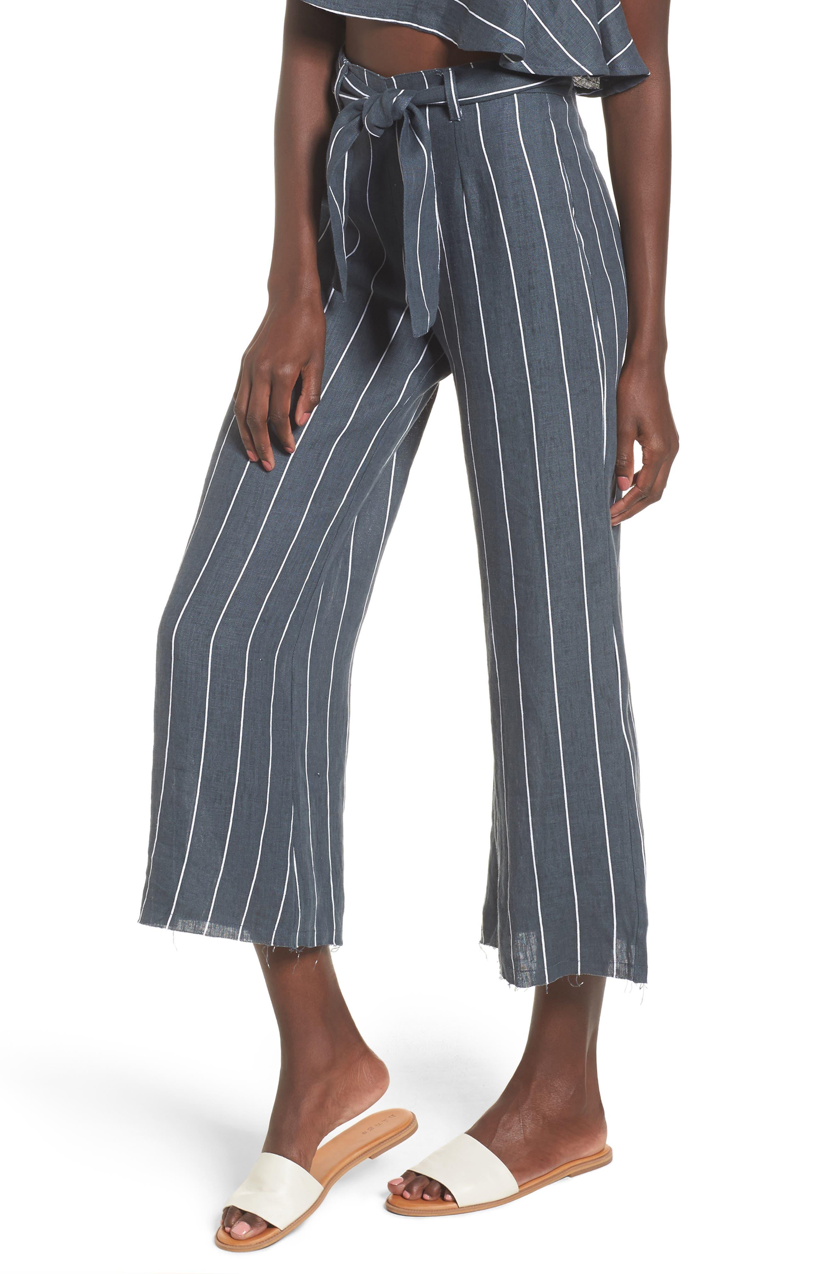 Como Pinstripe Wide Leg Crop Linen Pants,                         Main,                         color, Charcoal