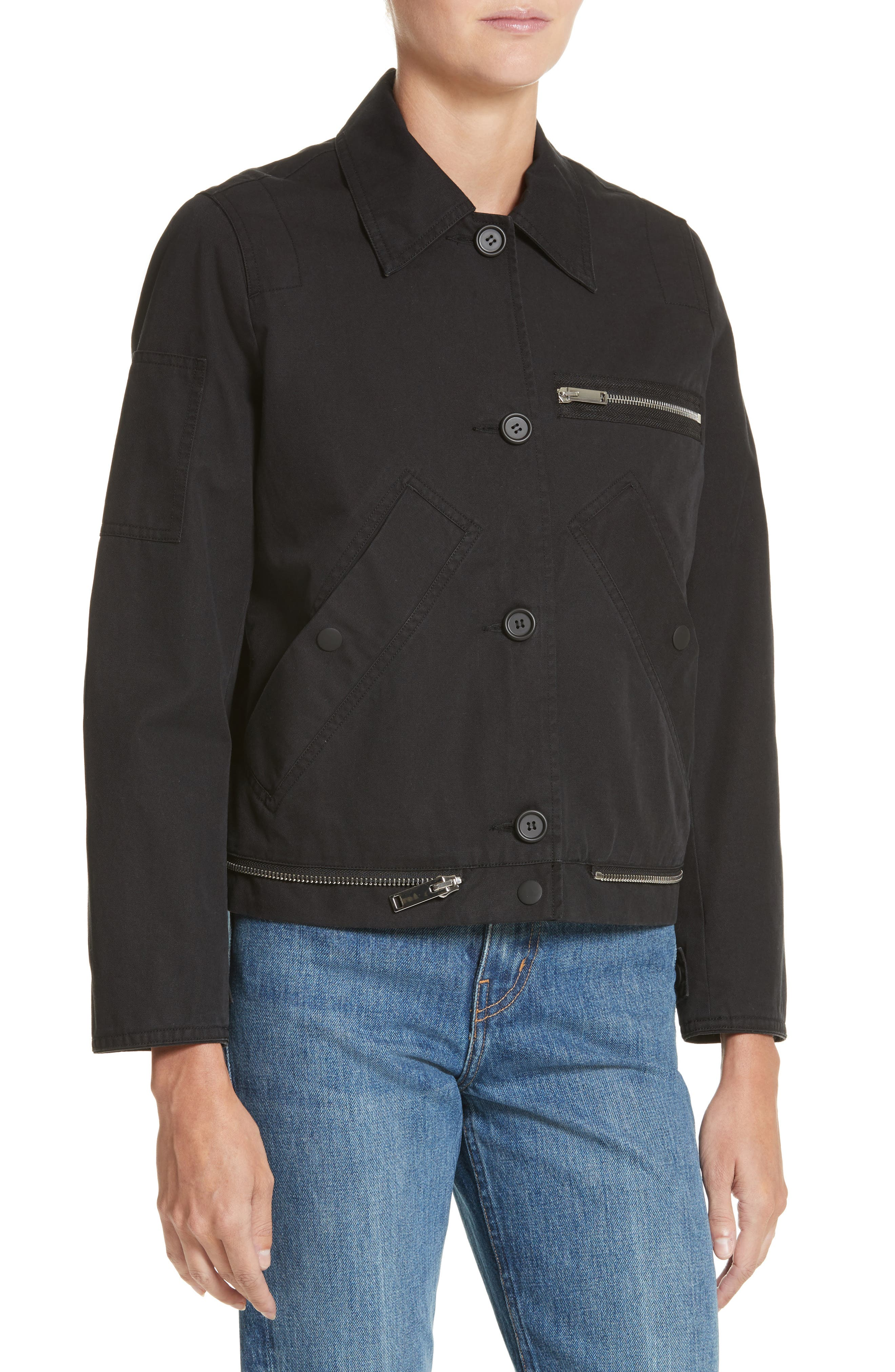 PSWL Washed Cotton Military Jacket,                             Alternate thumbnail 4, color,                             Black