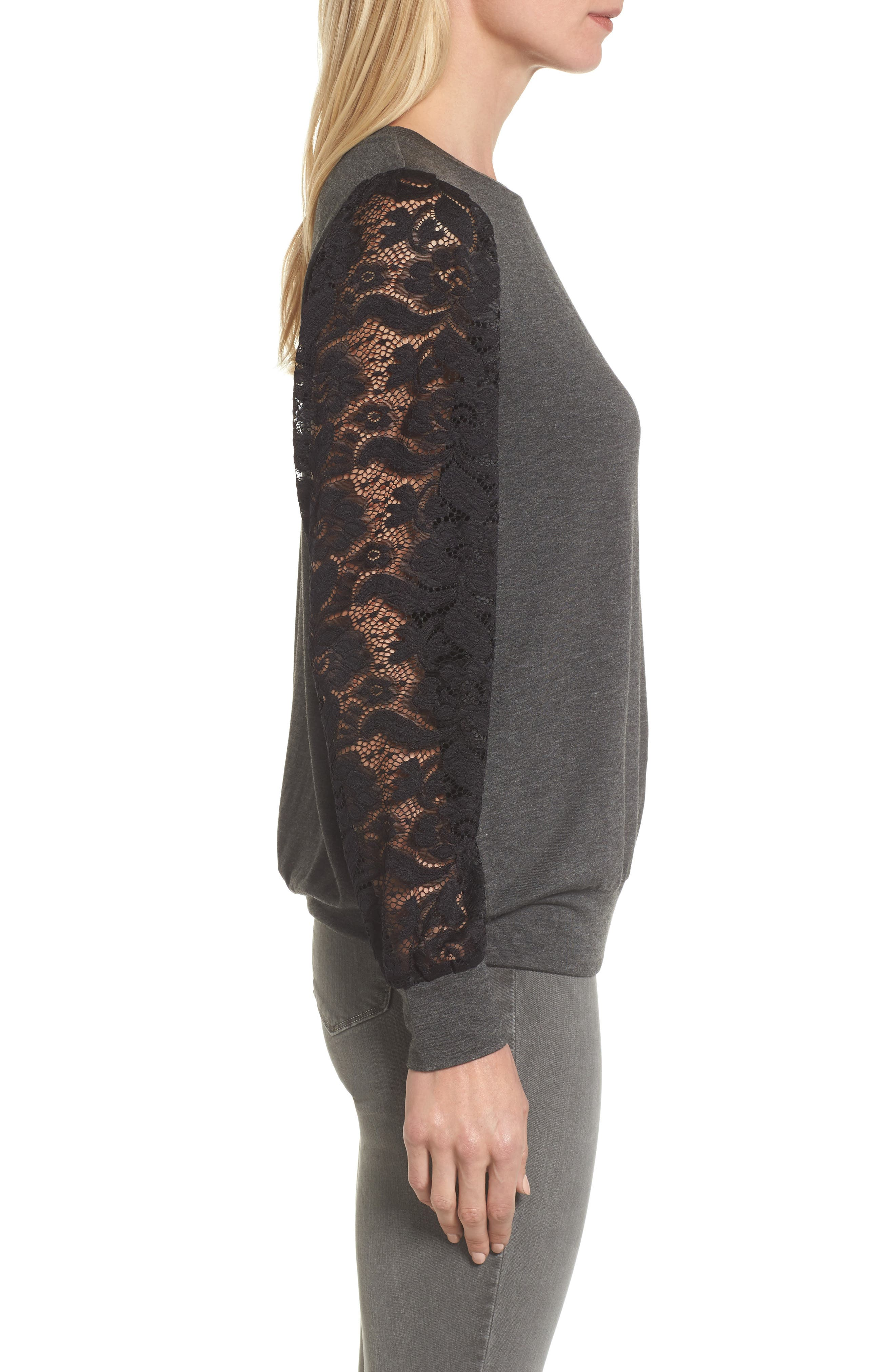 Lace Sleeve Sweatshirt,                             Alternate thumbnail 3, color,                             Dark Charcoal