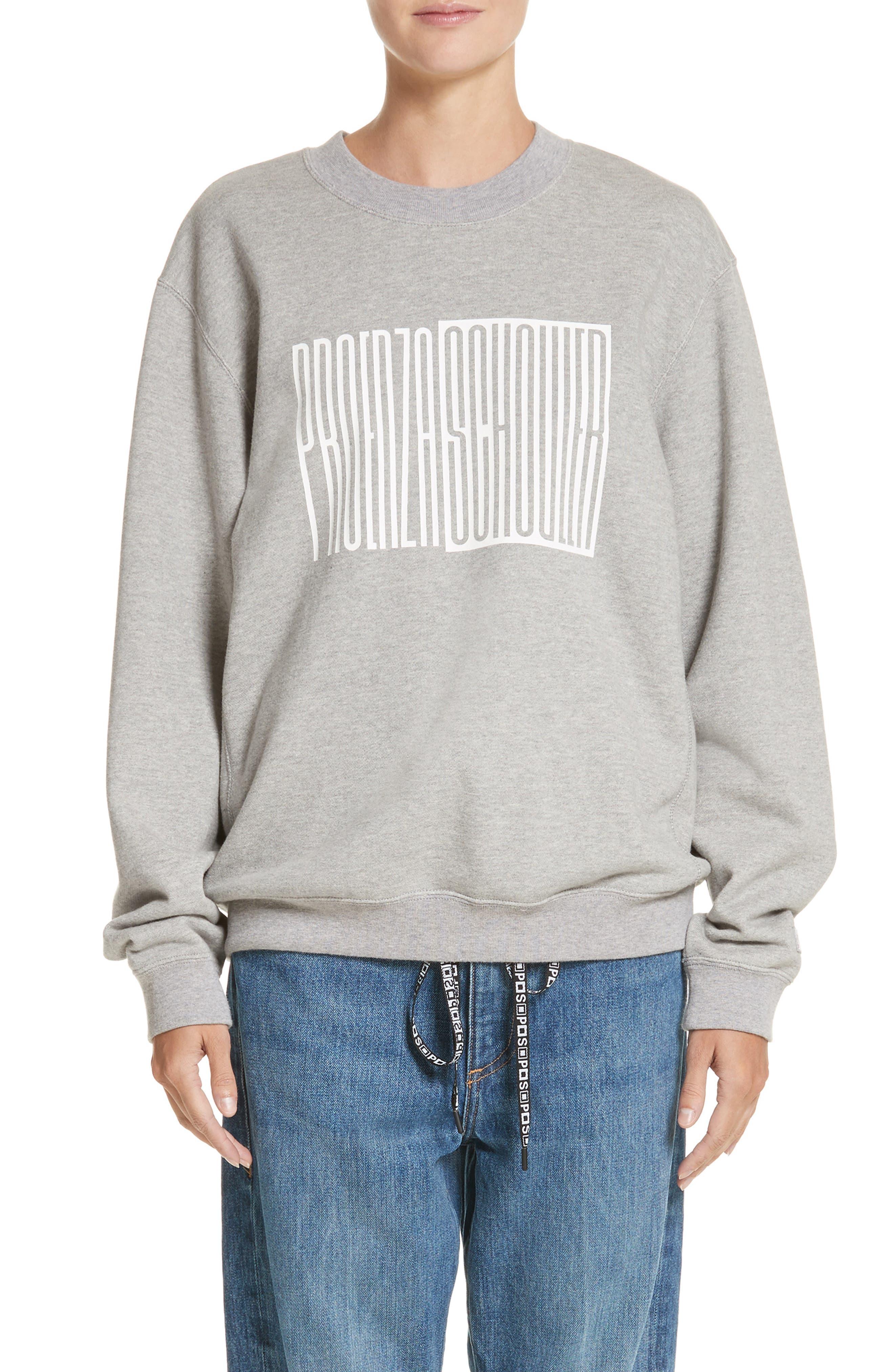 PSWL Graphic Jersey Oversize Sweatshirt,                             Main thumbnail 1, color,                             Grey Melange/ White Logo