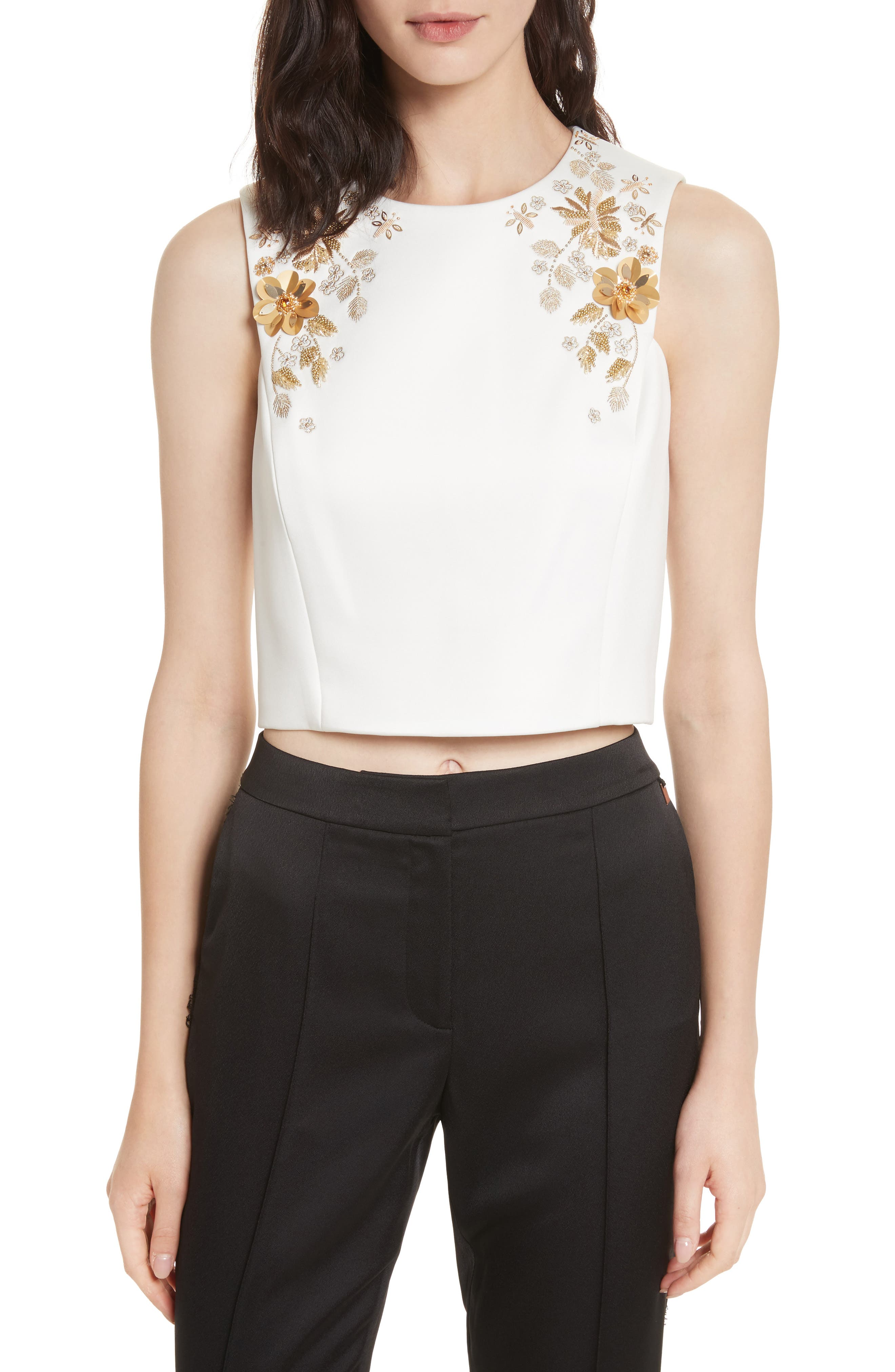 Embellished Bee Sleeveless Crop Top,                         Main,                         color, Ivory