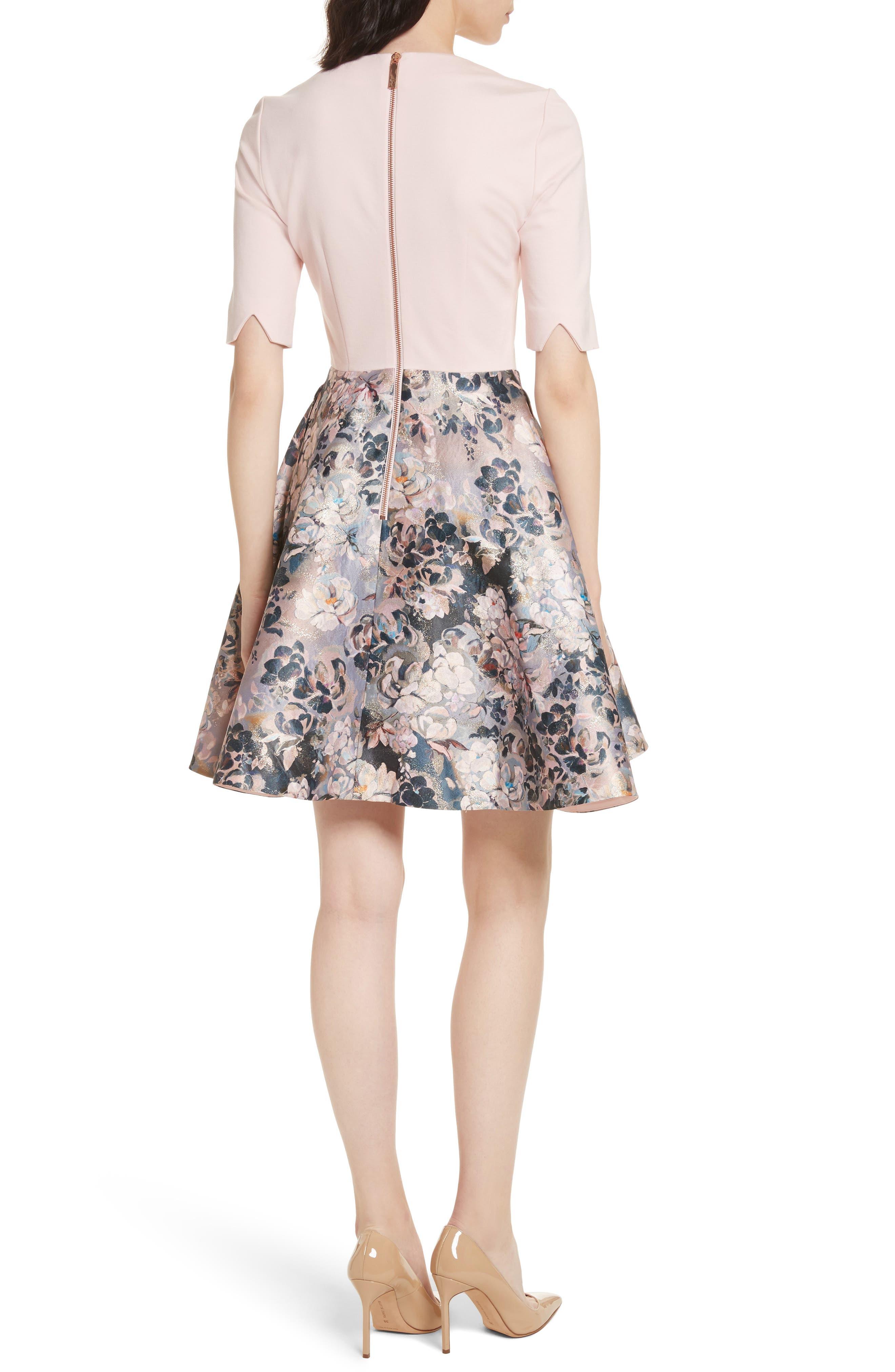Eloquent Jacquard Skater Dress,                             Alternate thumbnail 2, color,                             Pale Pink