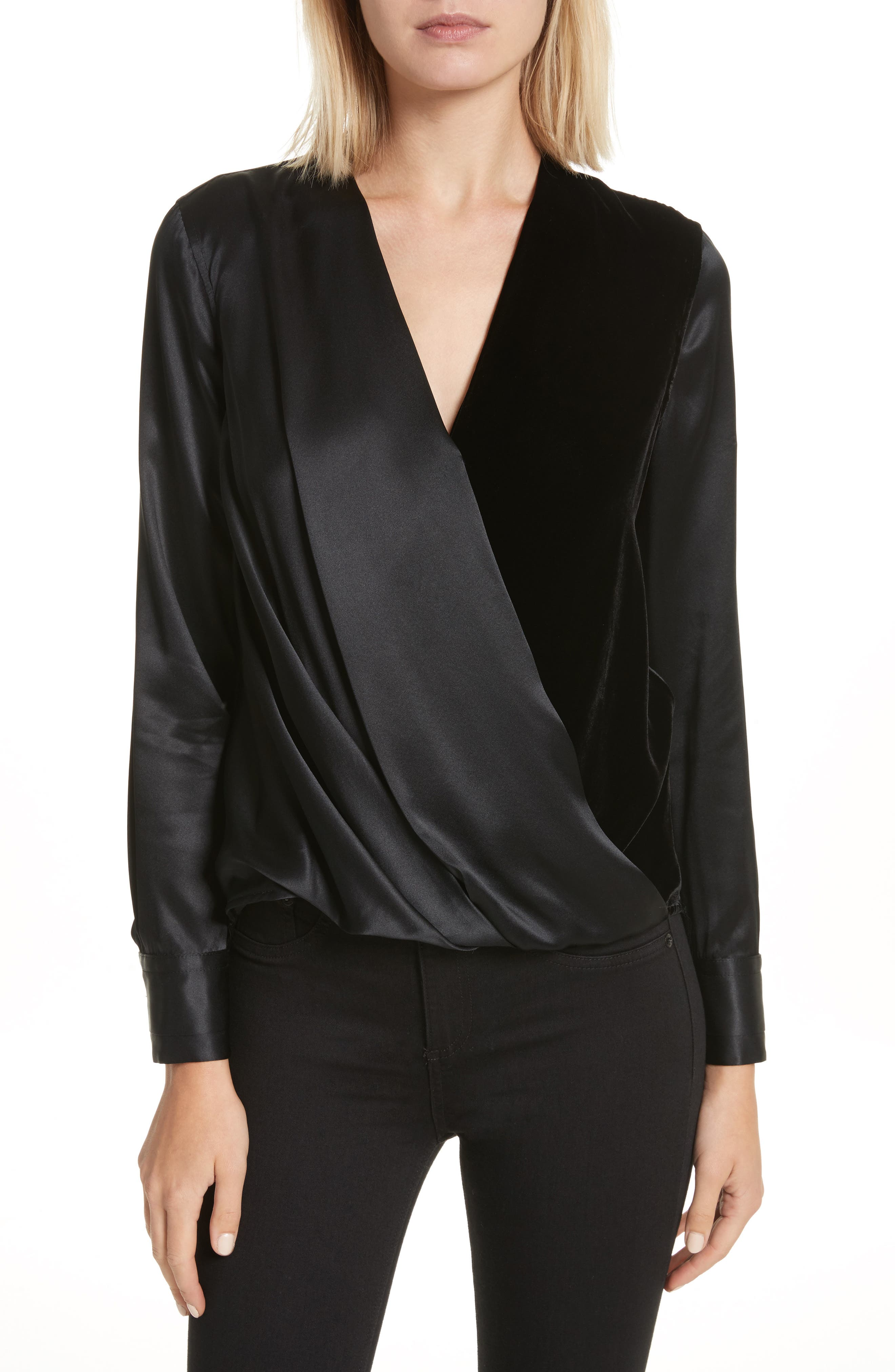 Victor Silk & Velvet Blouse,                             Main thumbnail 1, color,                             Black