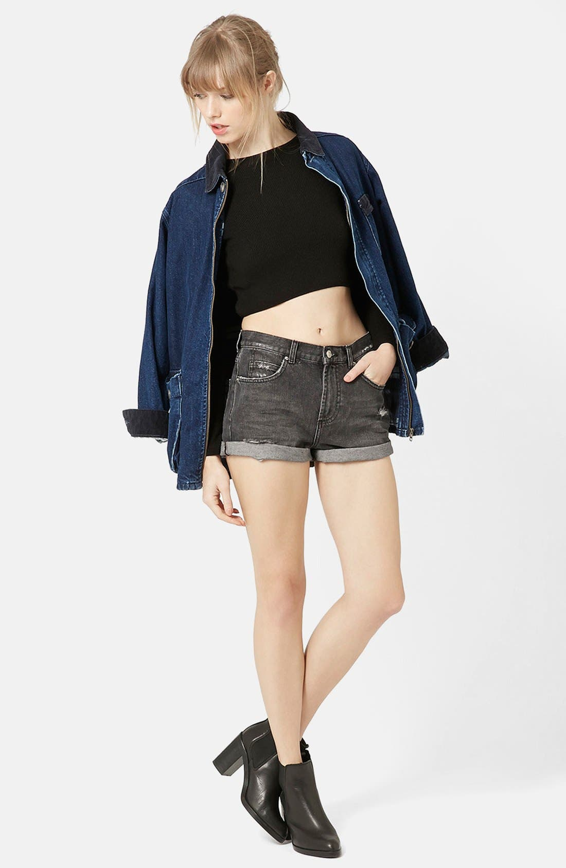 Alternate Image 5  - Topshop Moto 'Rosa' Cuffed Denim Shorts
