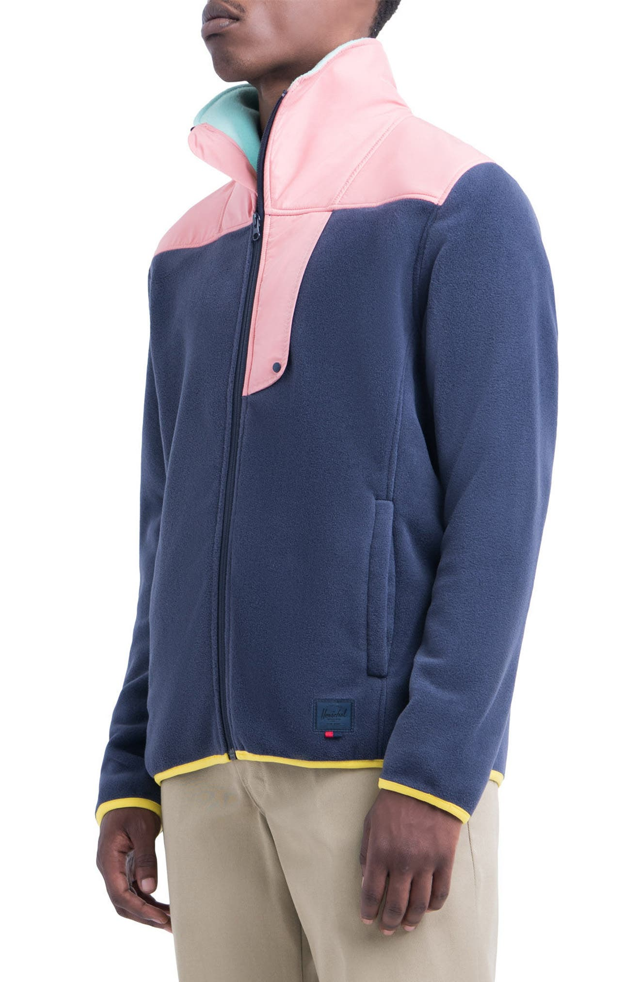 Fleece Zip-Up,                             Alternate thumbnail 3, color,                             Peacoat/ Strawberry Ice/ Green