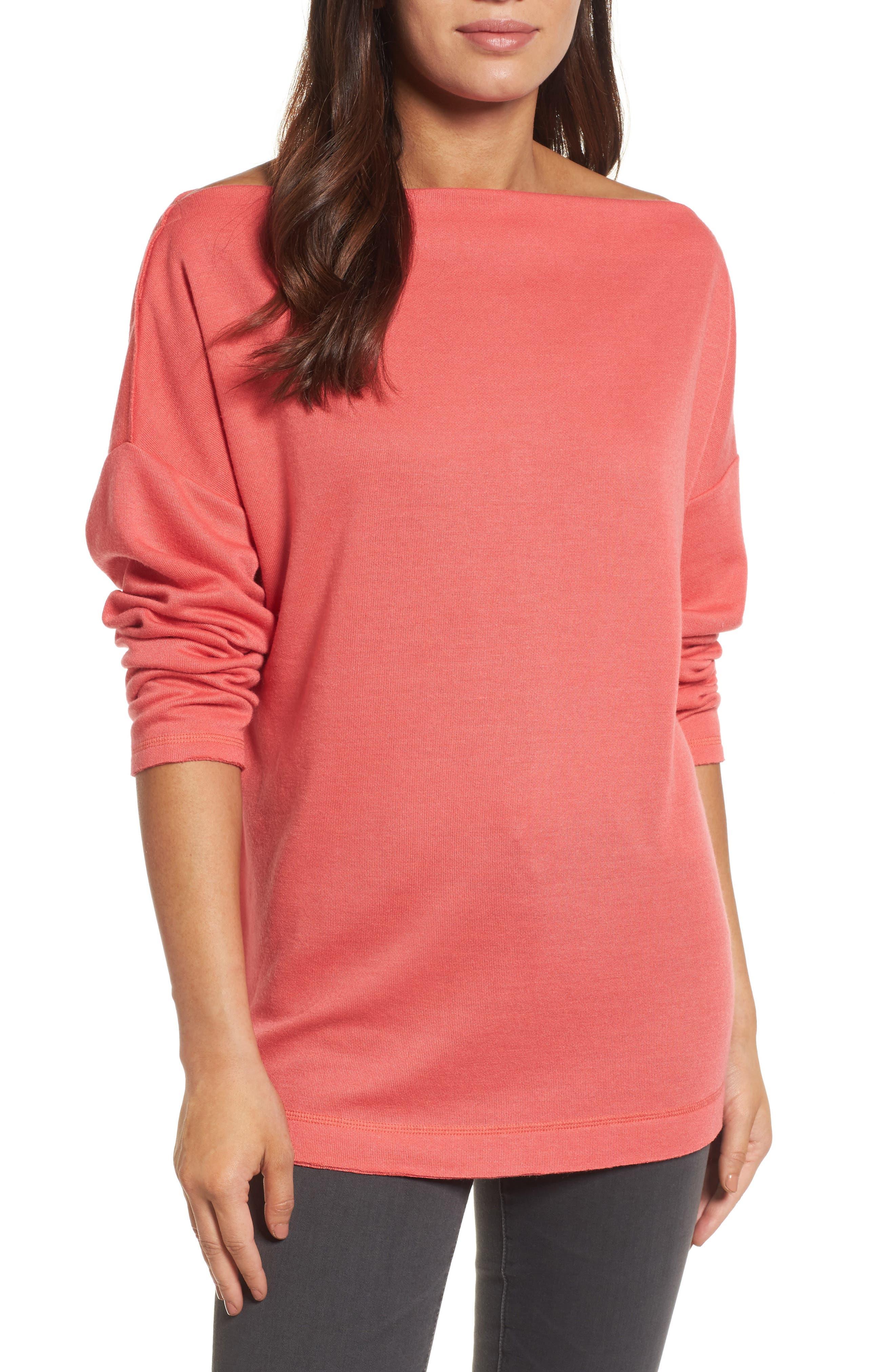 Caslon® Bateau Neck Knit Tunic (Regular & Petite)