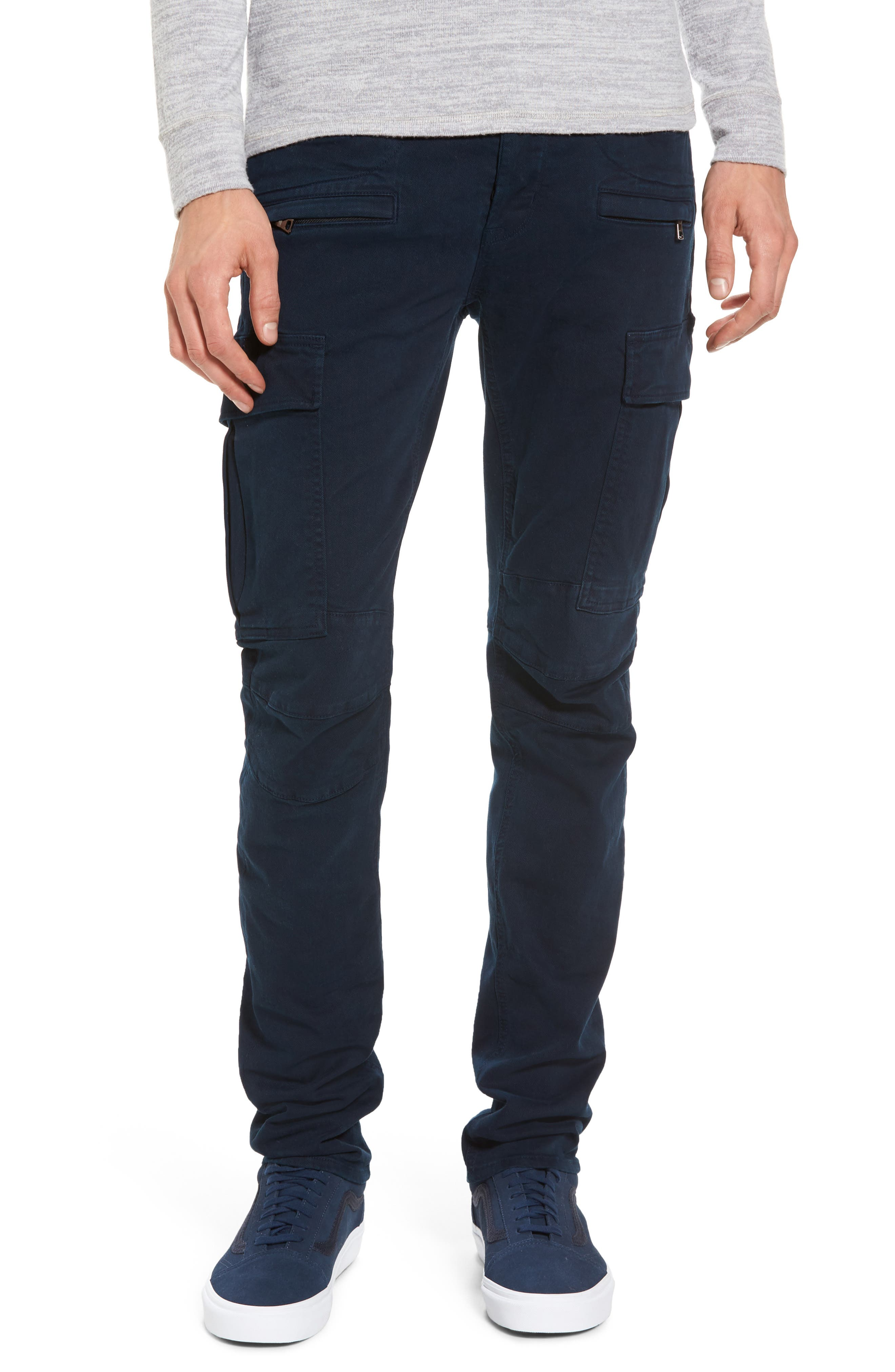 Greyson Cargo Biker Skinny Fit Jeans,                             Main thumbnail 1, color,                             Ink