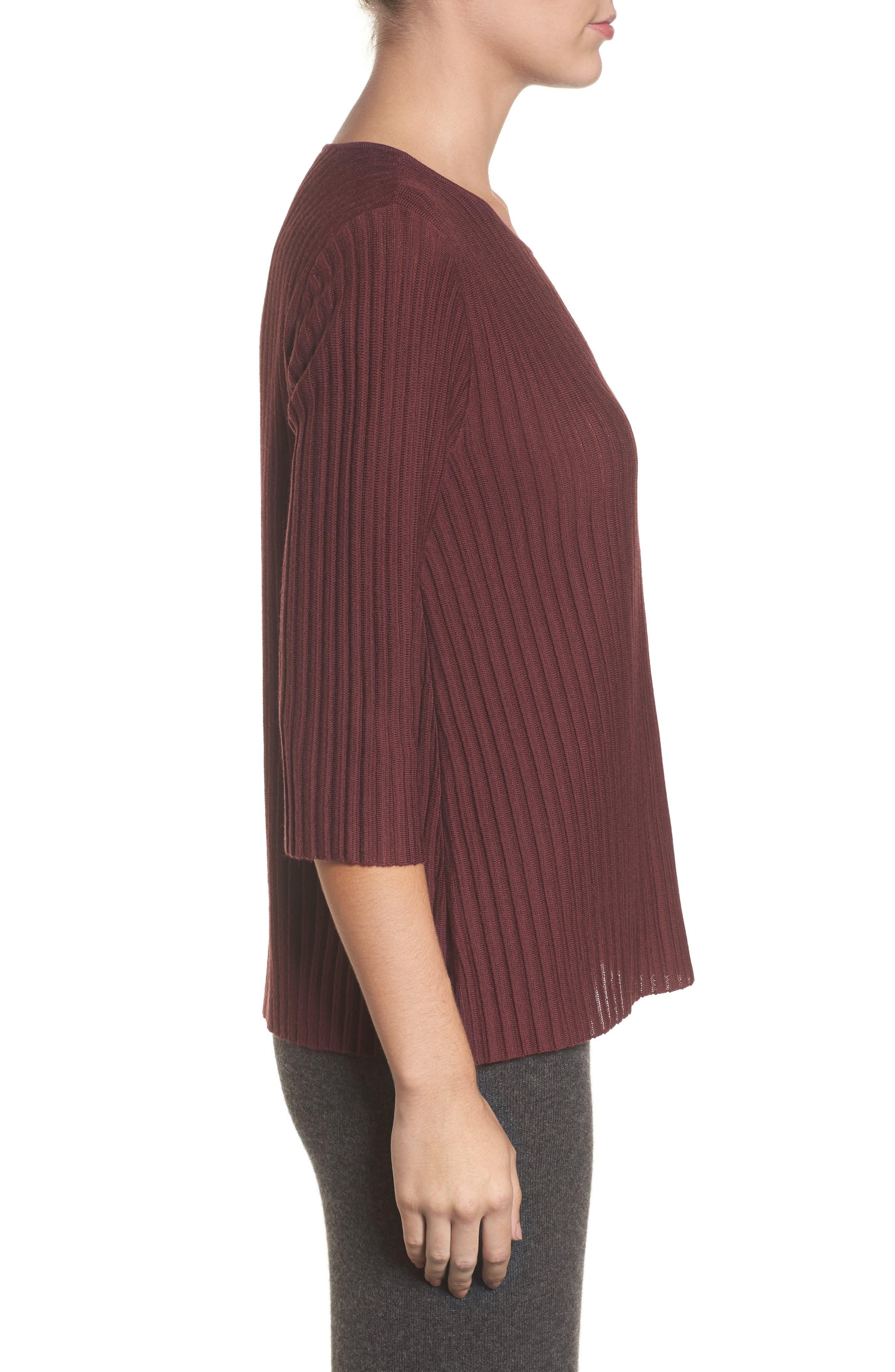 Alternate Image 3  - Eileen Fisher Ribbed Merino Wool Sweater (Regular & Petite)