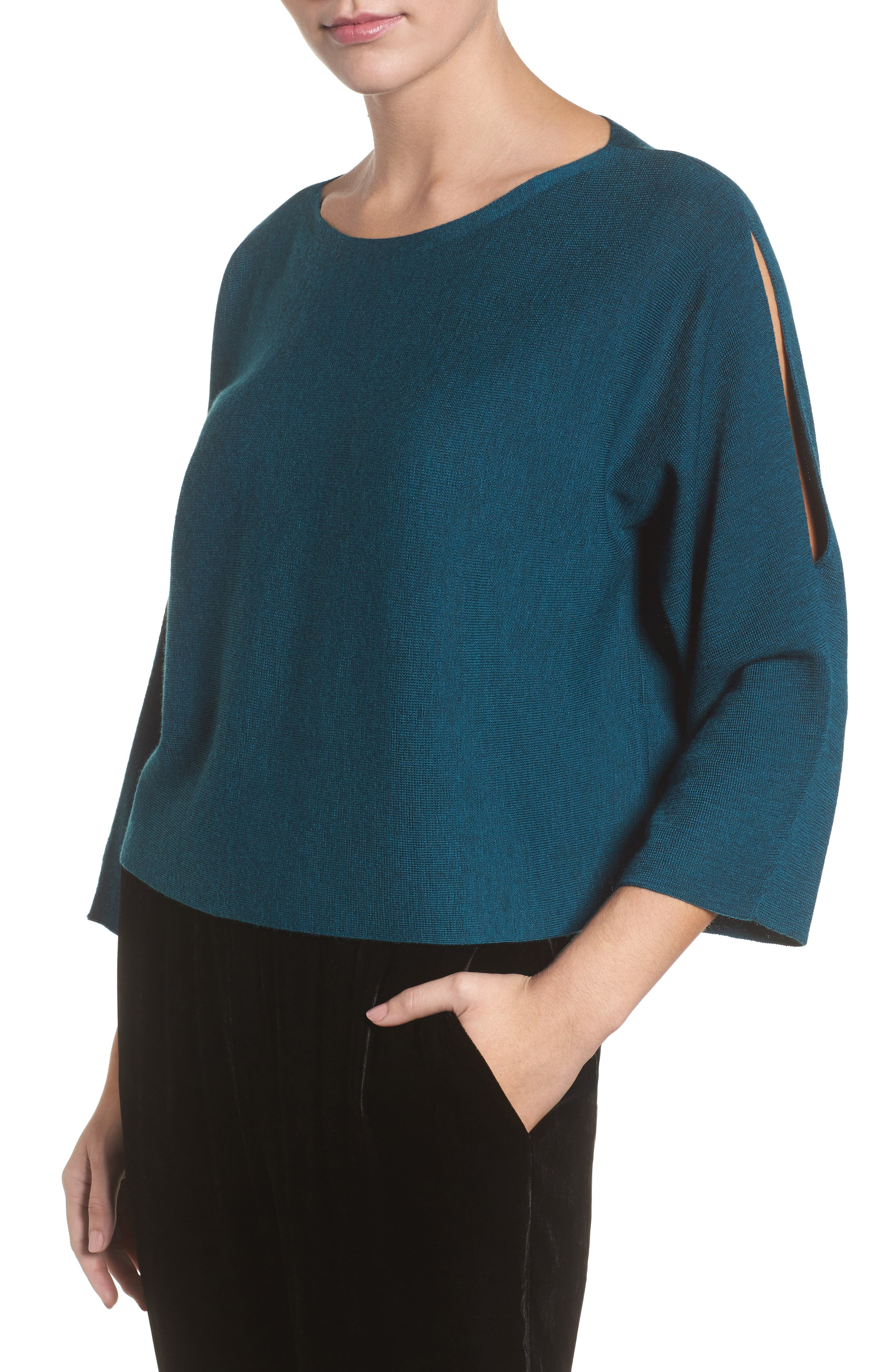 Alternate Image 1 Selected - Eileen Fisher Crop Merino Wool Sweater