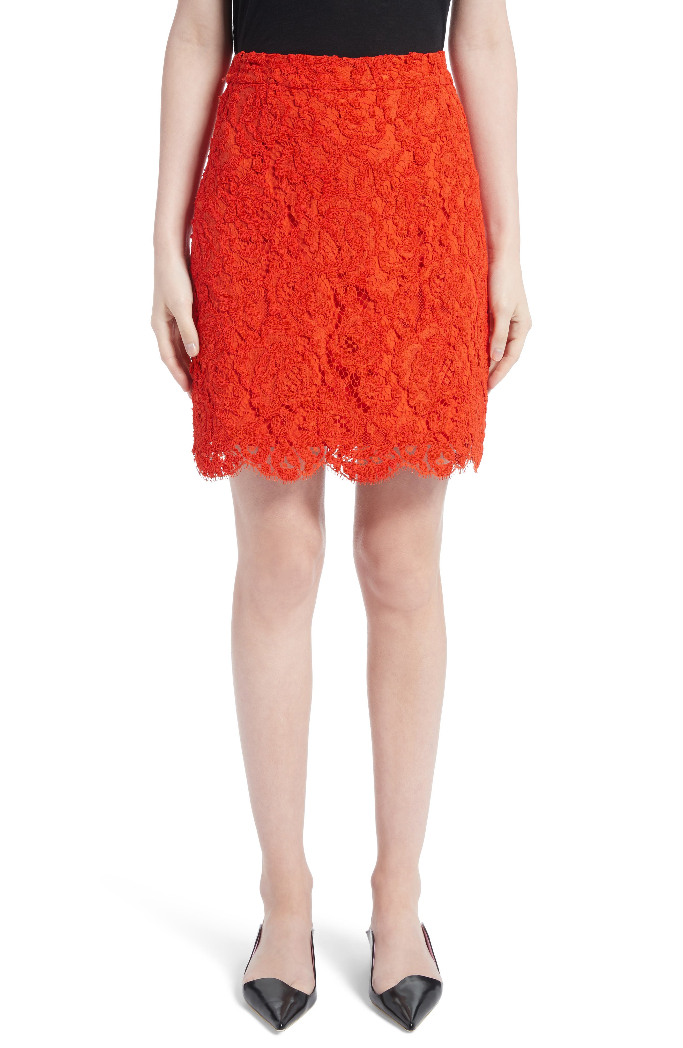 Corded Lace Miniskirt,                         Main,                         color, Coral