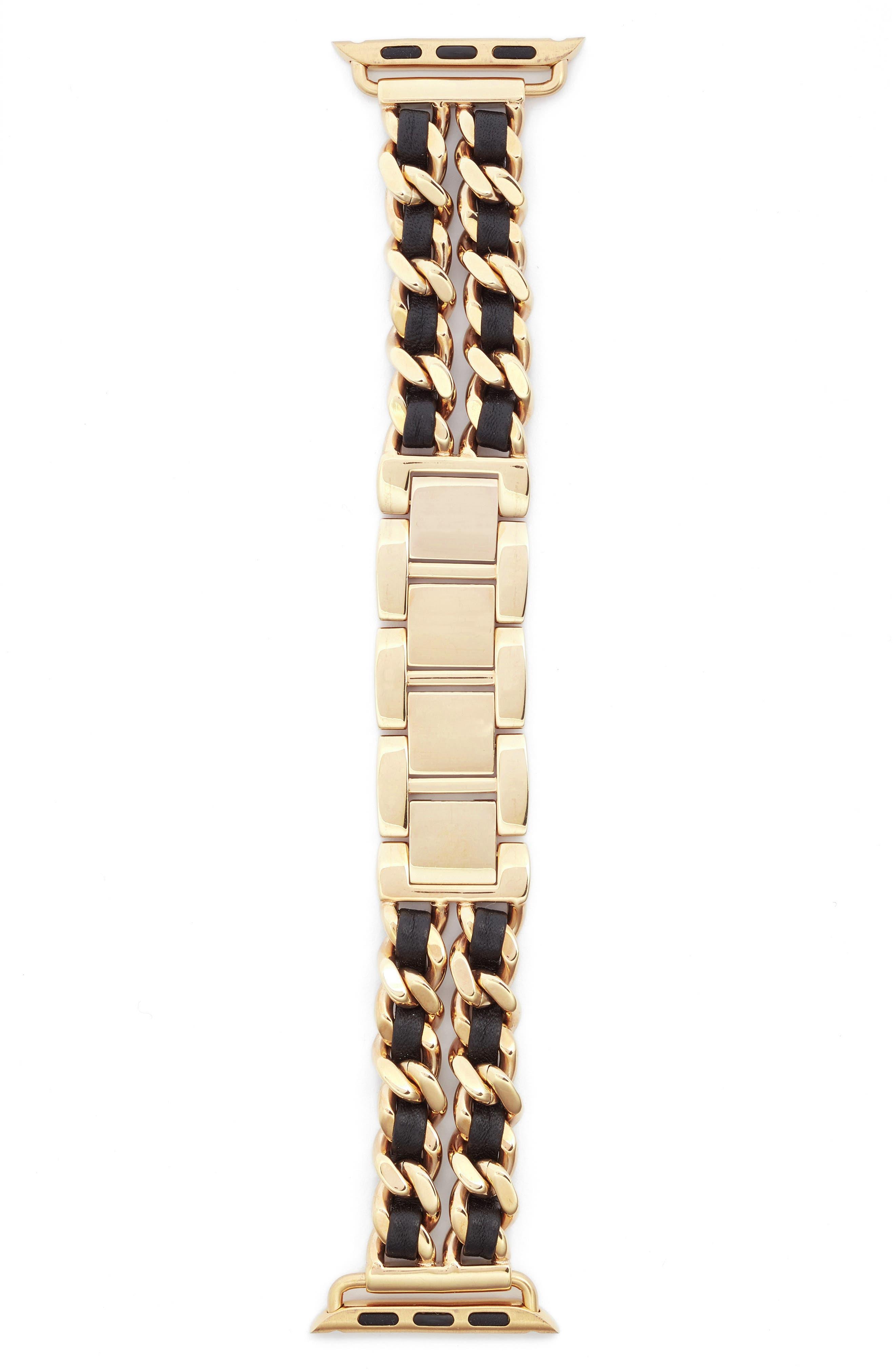 Bezels & Bytes Chainlink Apple Watch Band, 38mm,                             Alternate thumbnail 2, color,                             Gold/ Black