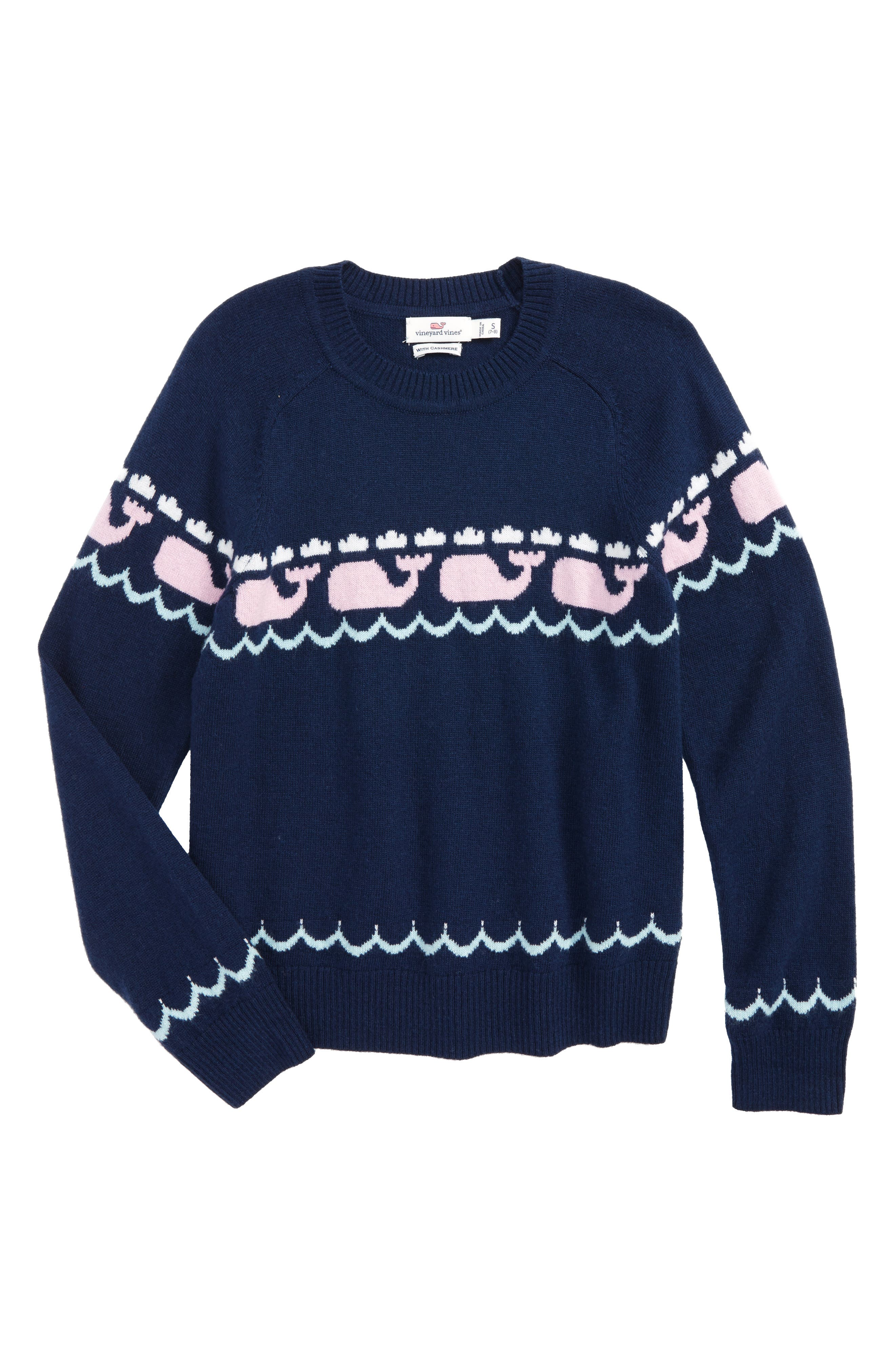 Alternate Image 1 Selected - vineyard vines Whale Intarsia Sweater (Little Girls & Big Girls)