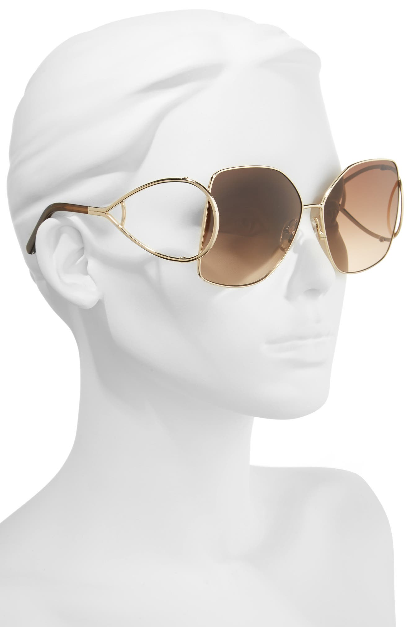 63mm Wrapover Frame Sunglasses,                             Alternate thumbnail 2, color,                             Gold/ Brown