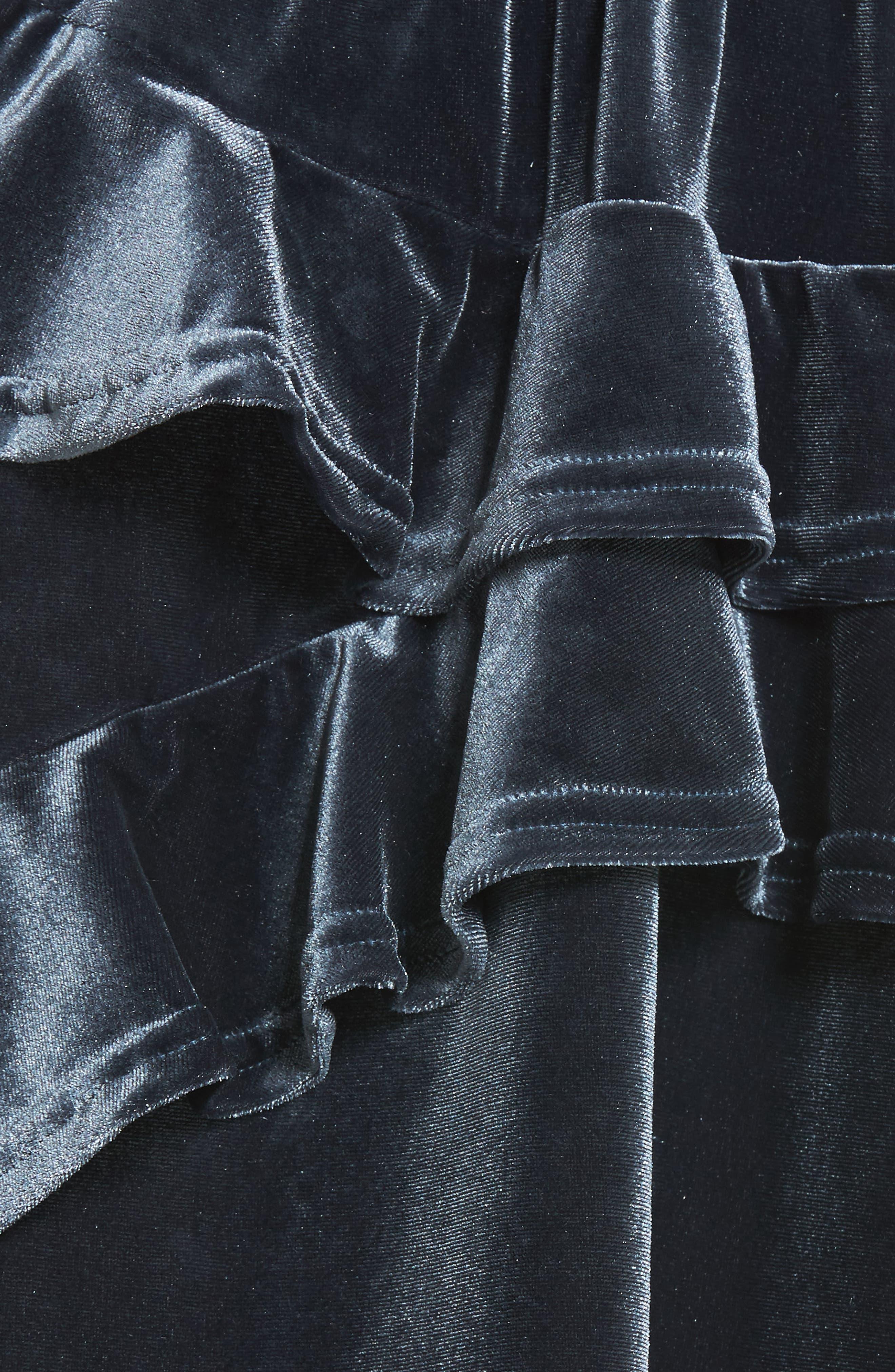 Exhibition Ruffle Velvet Skirt,                             Alternate thumbnail 6, color,                             Slate
