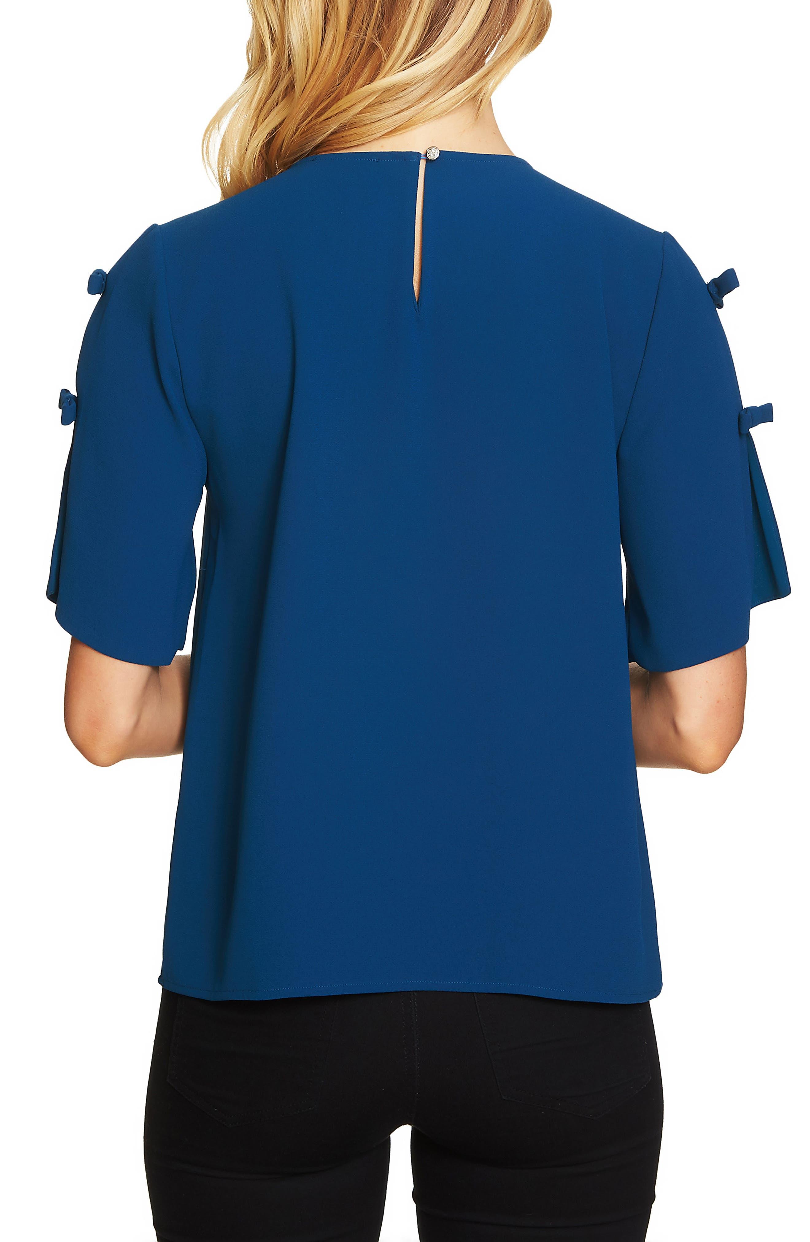 Moss Split Sleeve Blouse,                             Alternate thumbnail 2, color,                             Port Blue