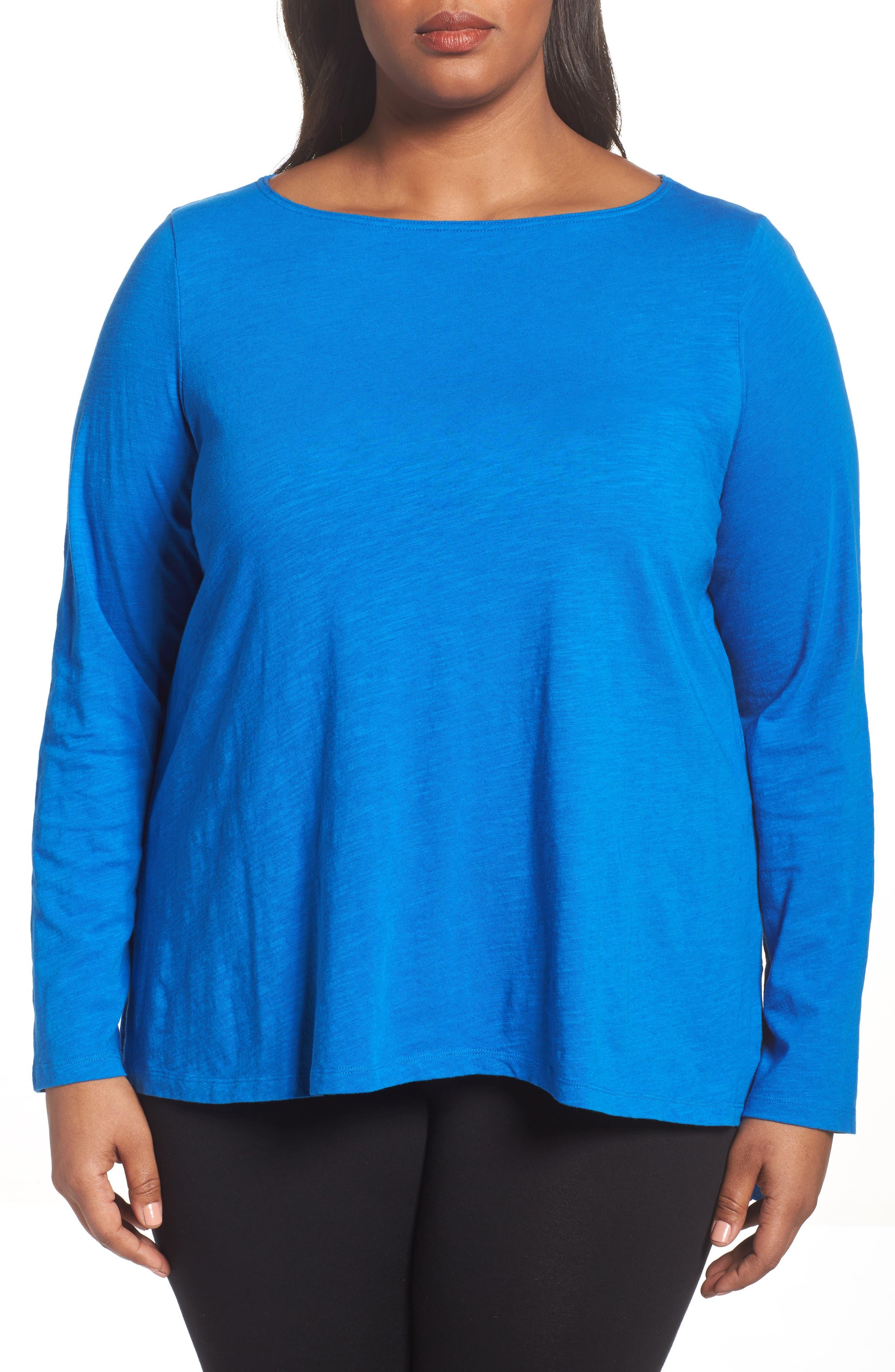 Organic Cotton Jersey Top,                             Alternate thumbnail 4, color,                             Blue