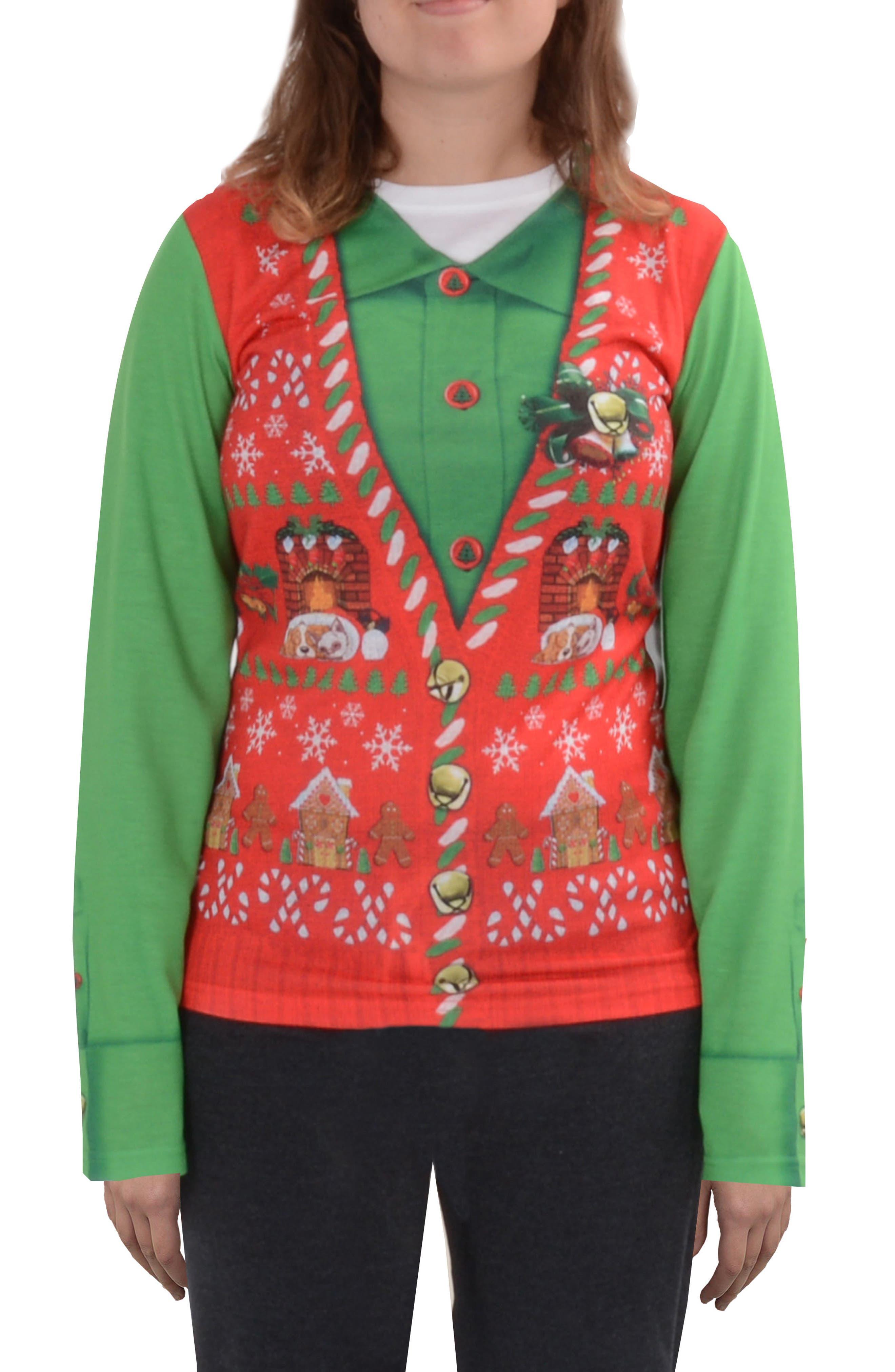 Faux Real Ugly Christmas Long Sleeve Novelty Tee (Women)