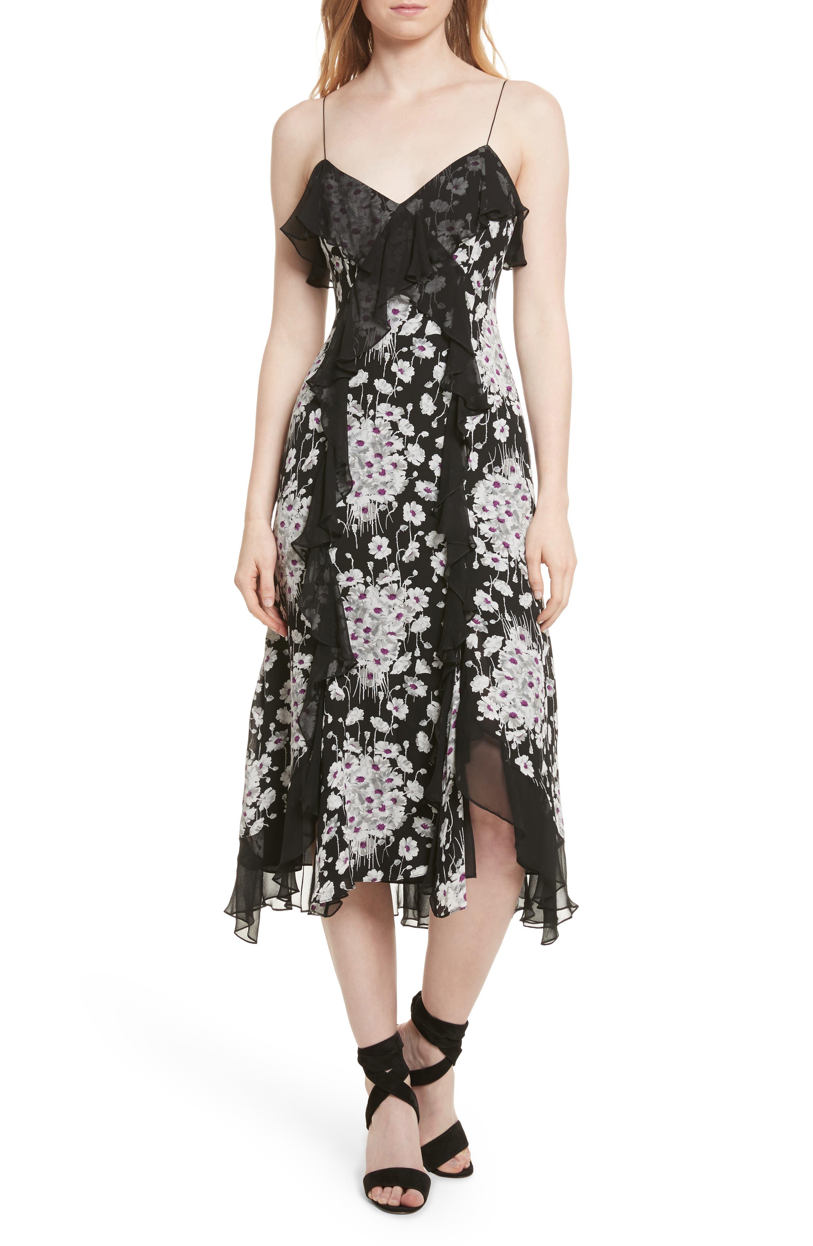 Joelle Ruffle Silk Dress,                             Main thumbnail 1, color,                             Black Multi