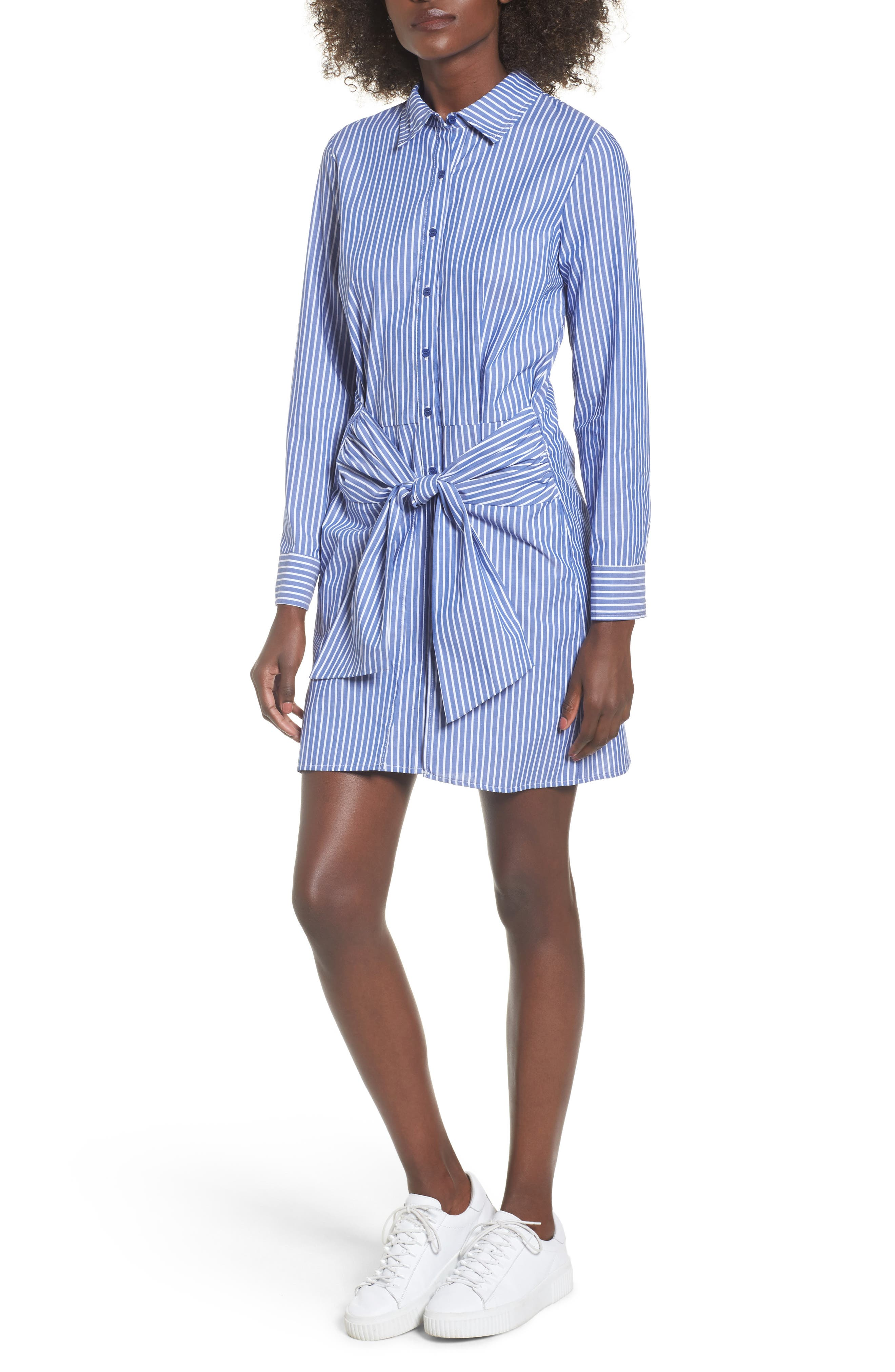 Tie Front Stripe Shirtdress,                             Main thumbnail 1, color,                             Blue White Stripe