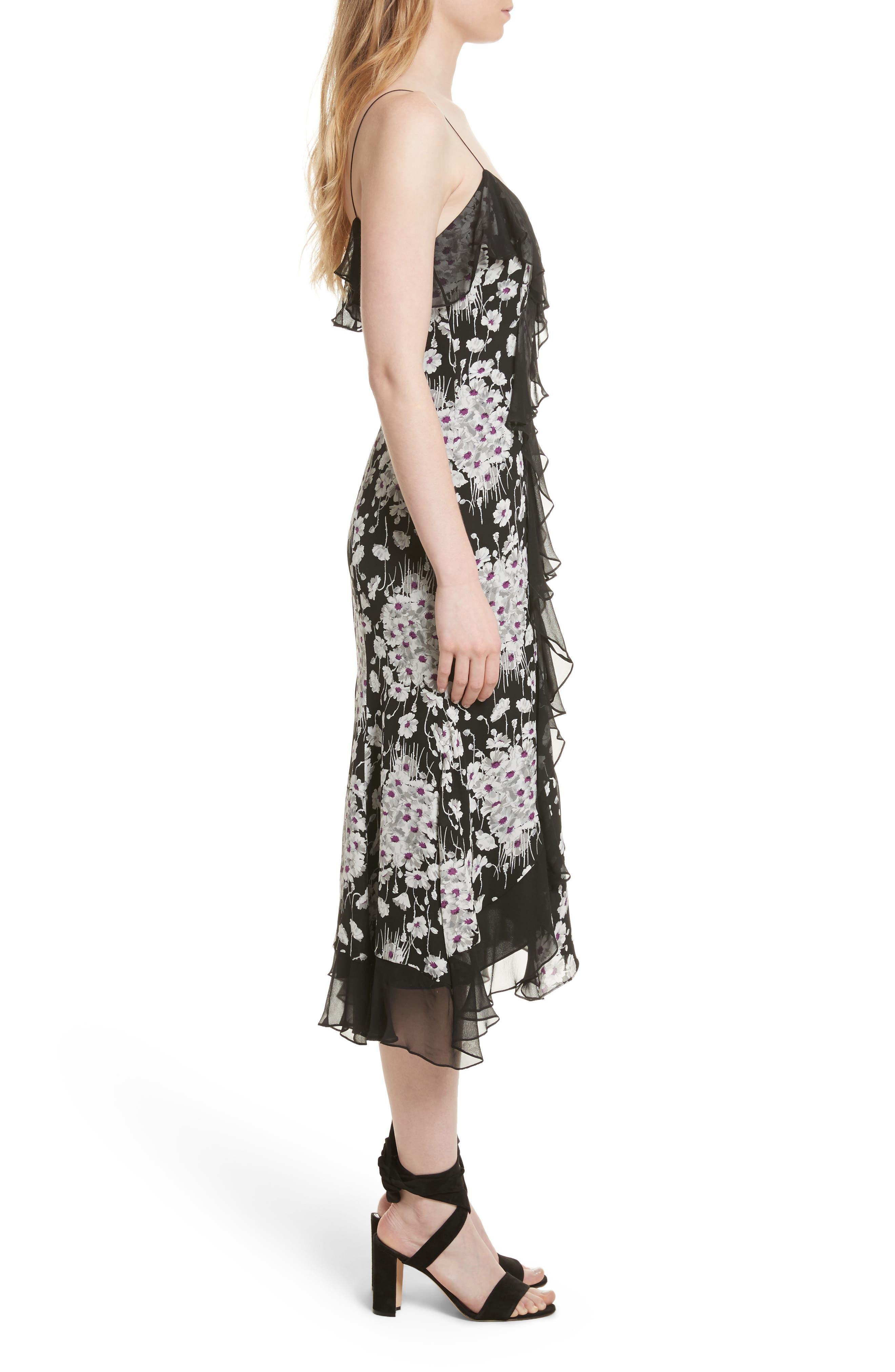 Joelle Ruffle Silk Dress,                             Alternate thumbnail 3, color,                             Black Multi