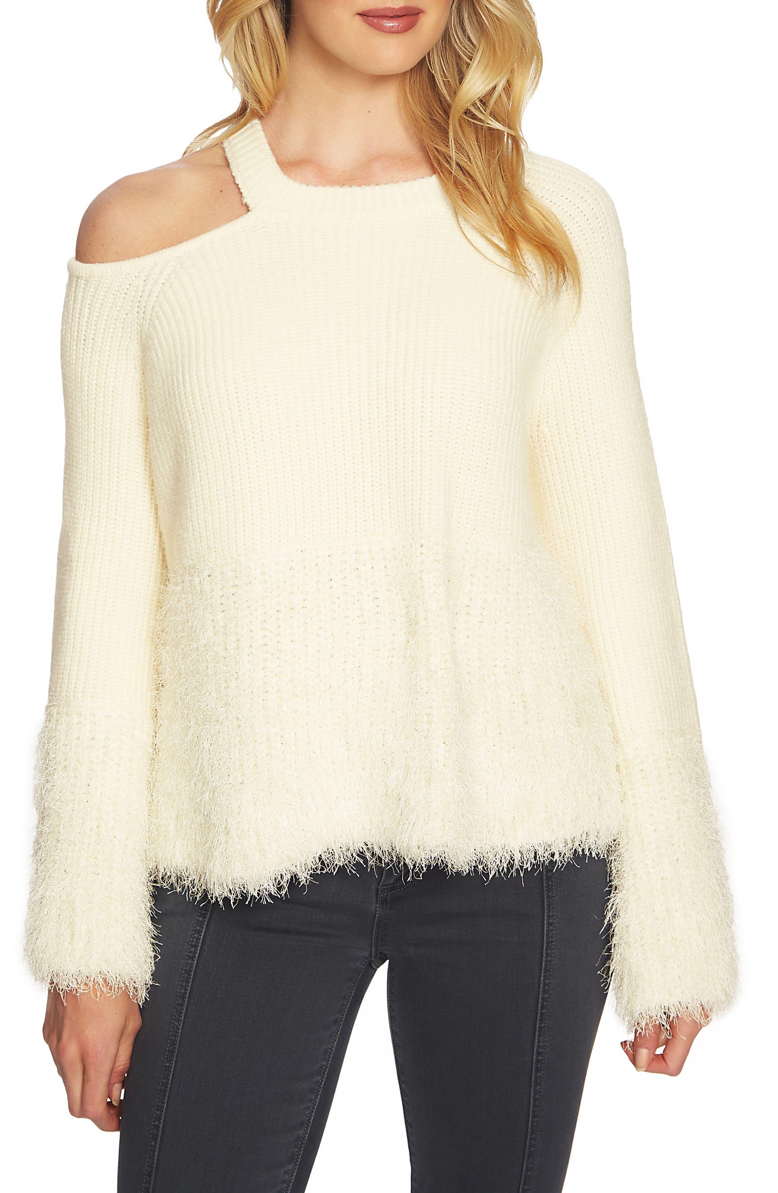 Eyelash Fringe Cutout Sweater,                             Main thumbnail 1, color,                             Antique White