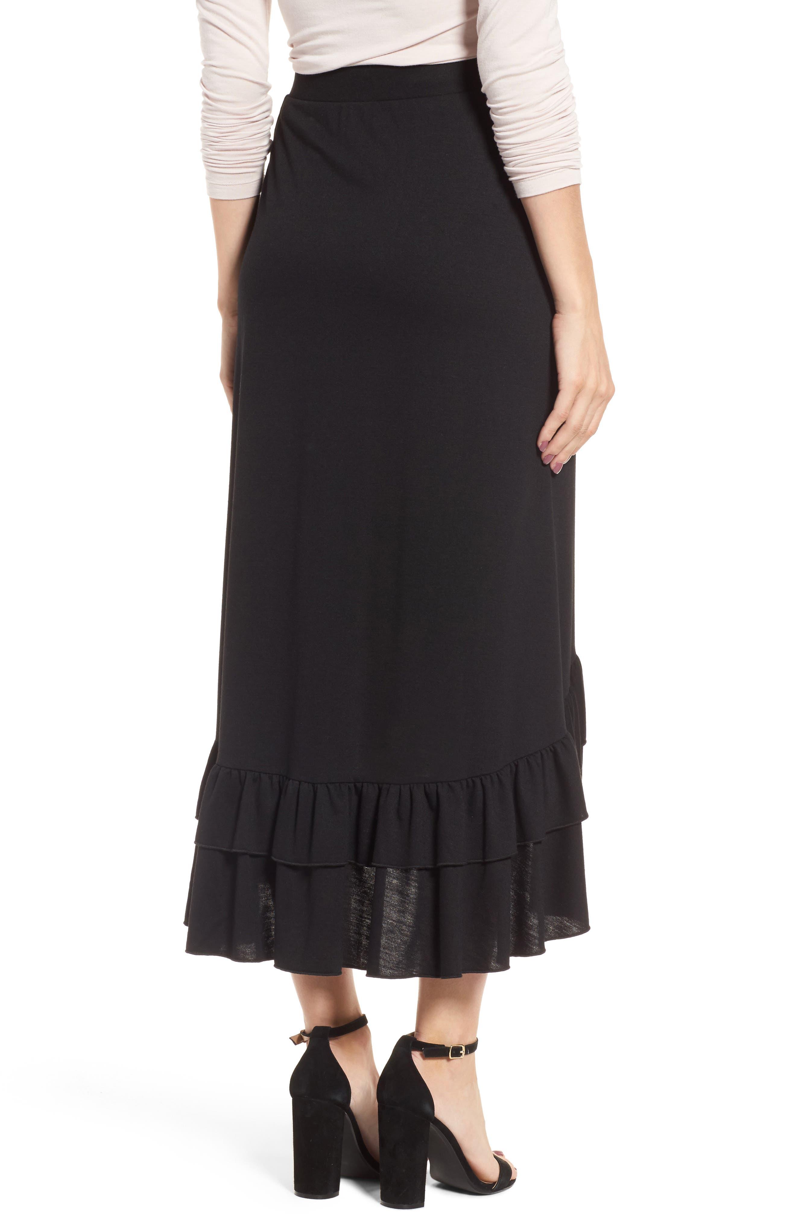 Ruffle Midi Skirt,                             Alternate thumbnail 2, color,                             Black