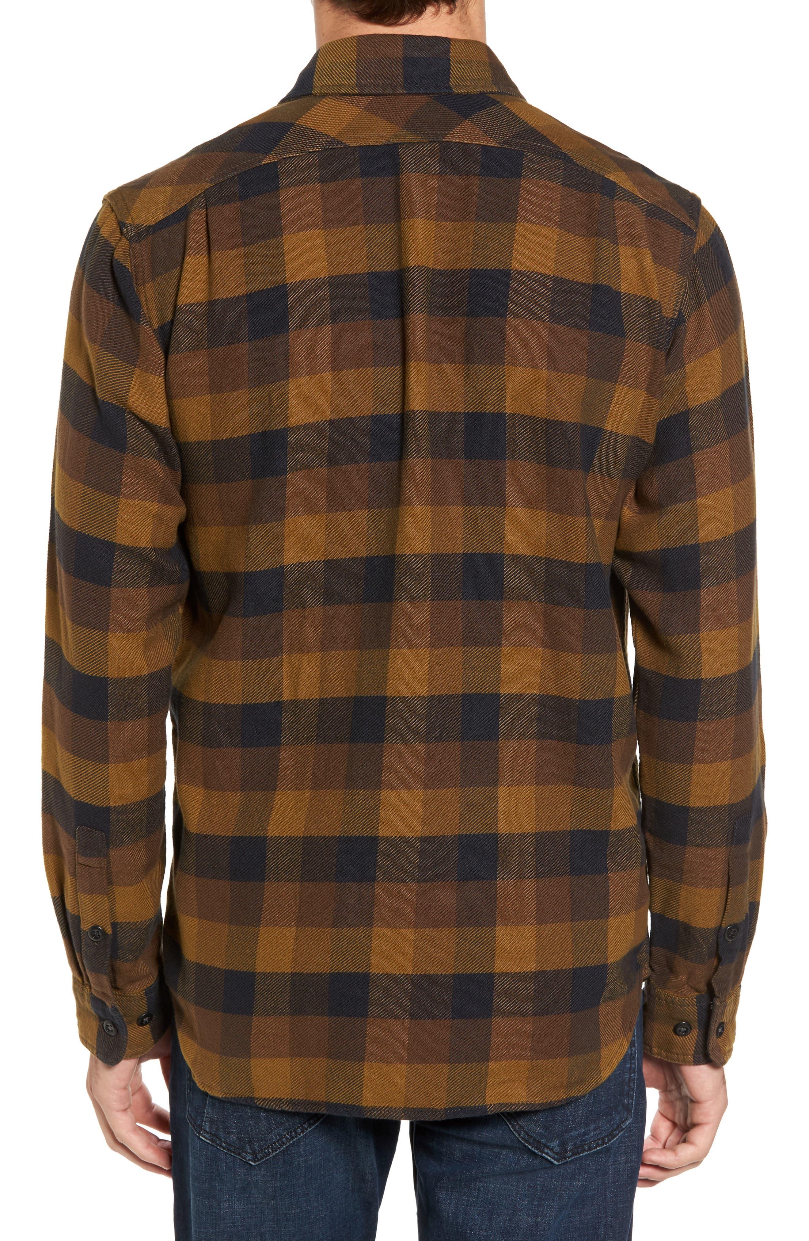 'Vintage Flannel' Regular Fit Plaid Cotton Shirt,                             Alternate thumbnail 2, color,                             Brown/ Navy