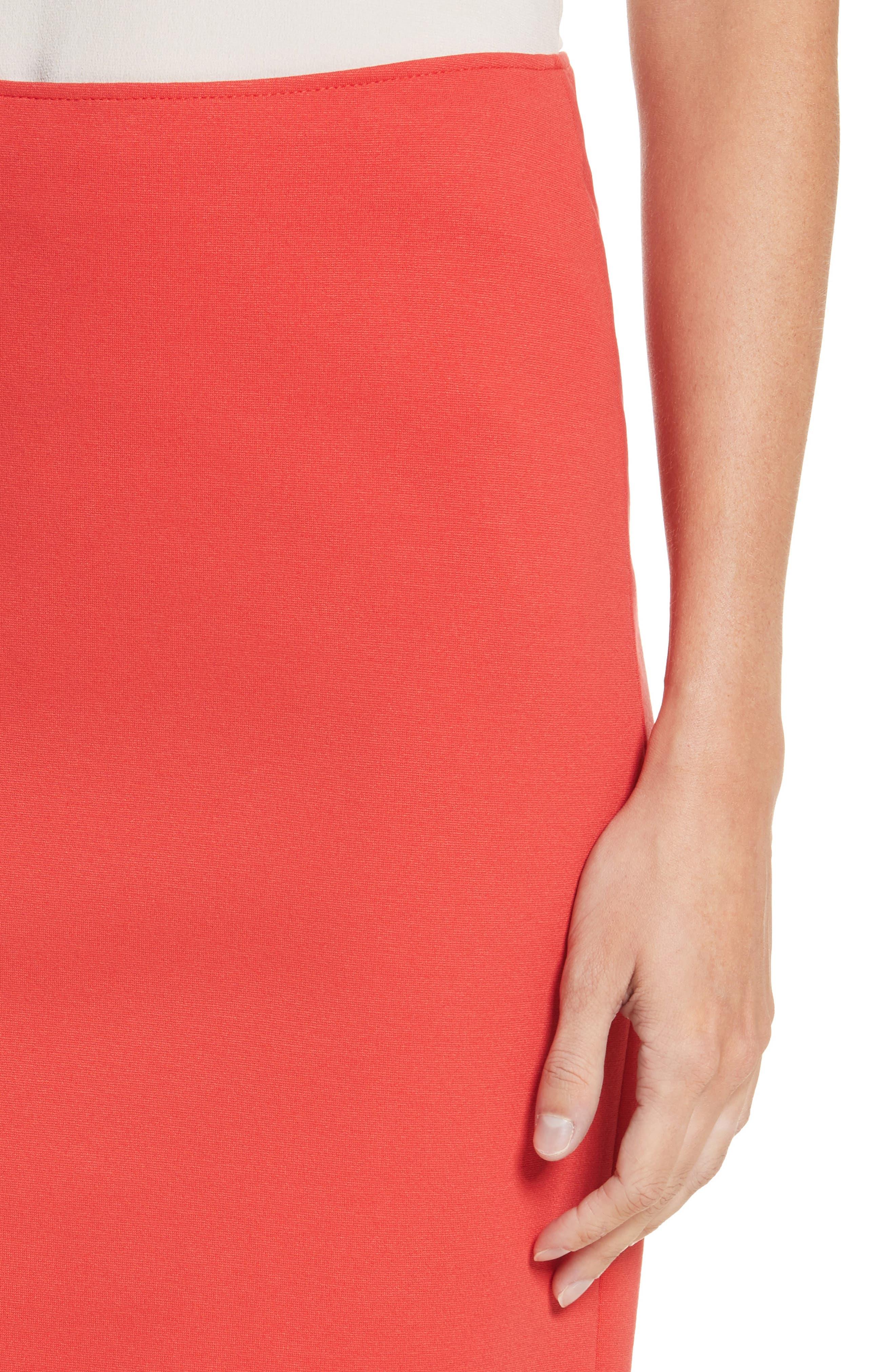 Milano Jersey Pencil Skirt,                             Alternate thumbnail 4, color,                             Solid Bright Orange