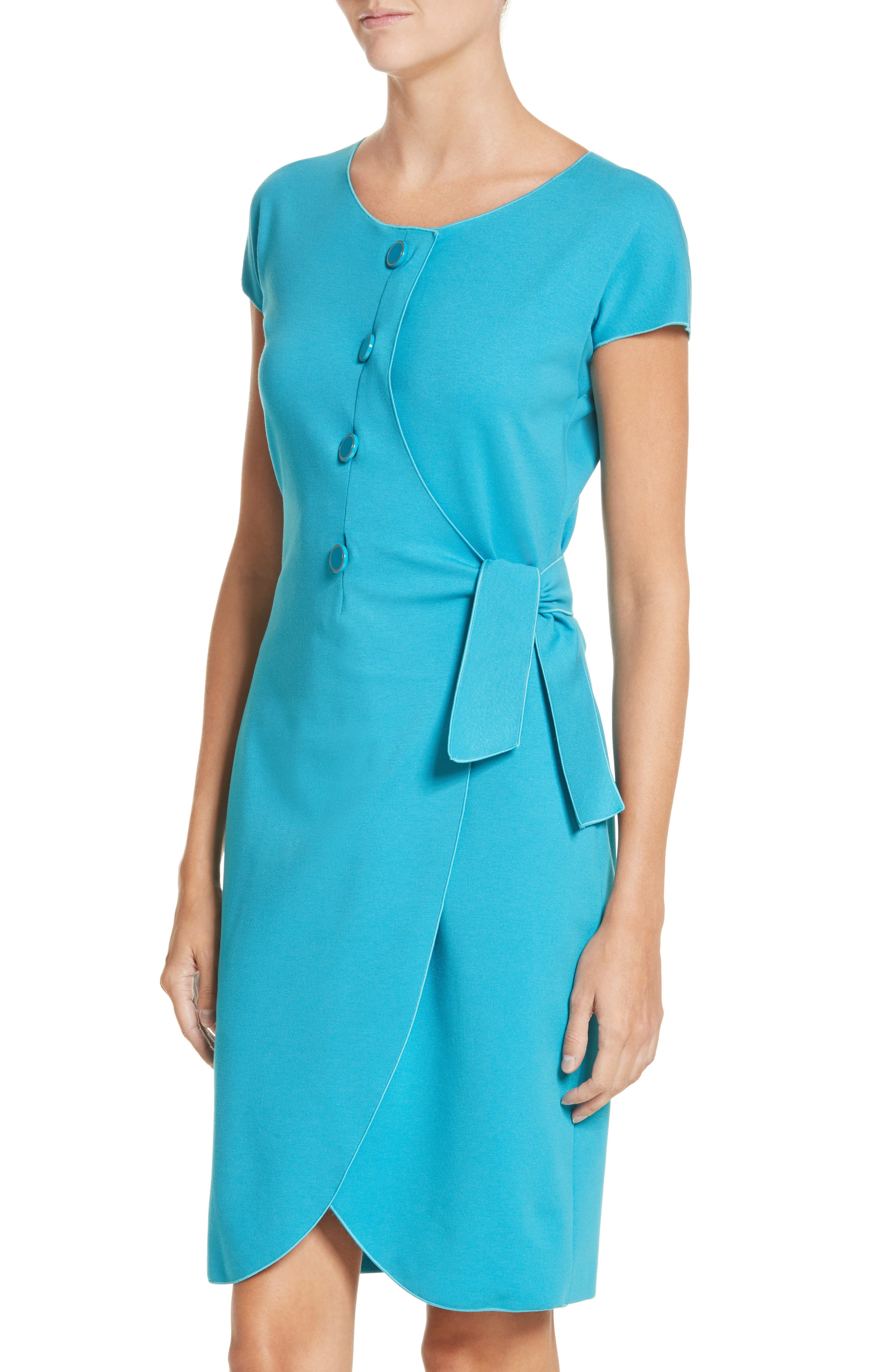 Knotted Wrap Skirt Dress,                             Alternate thumbnail 4, color,                             Solid Turquoise/ Aqua