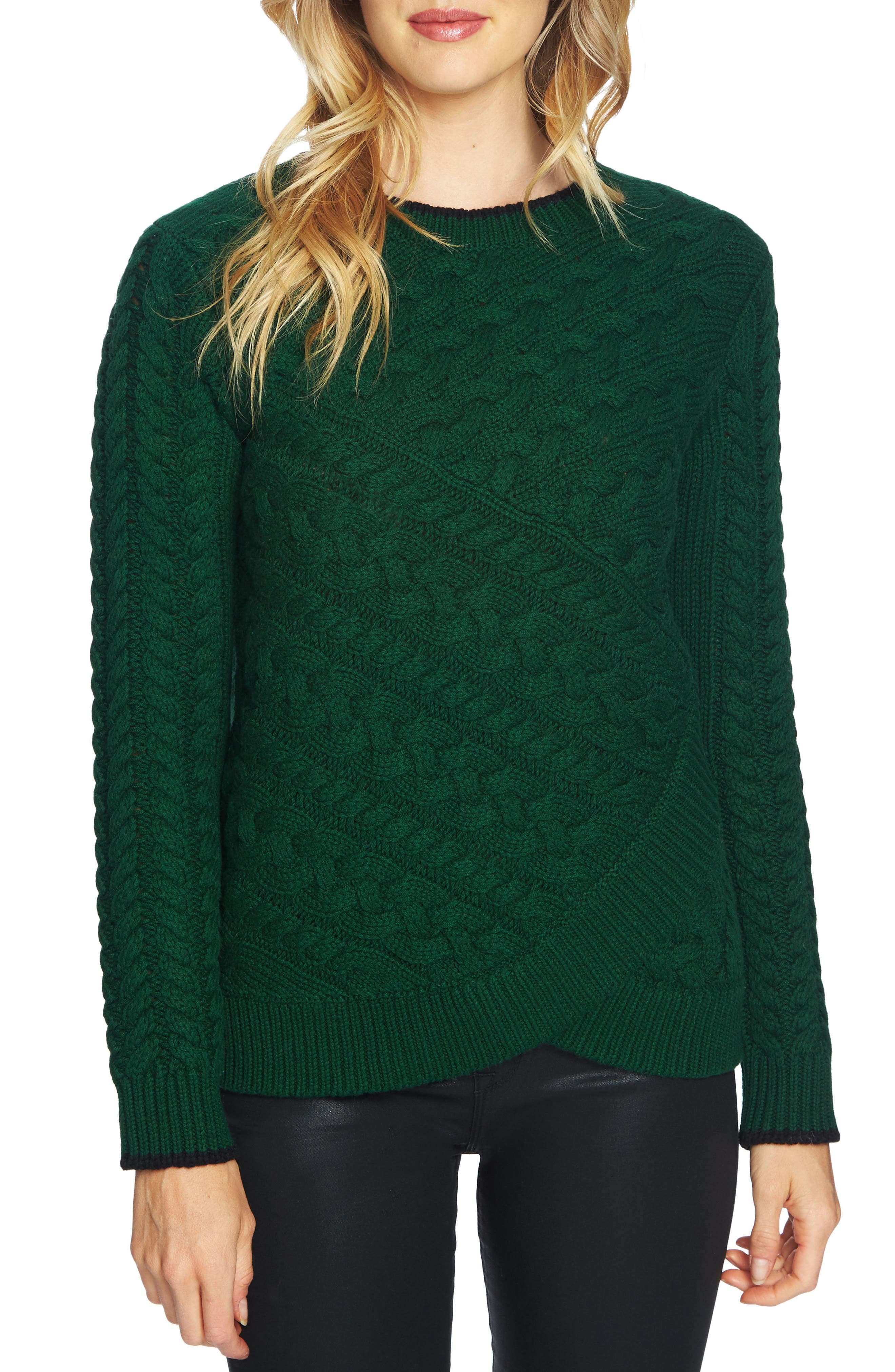 CeCe Double Layer Cable Stitch Sweater