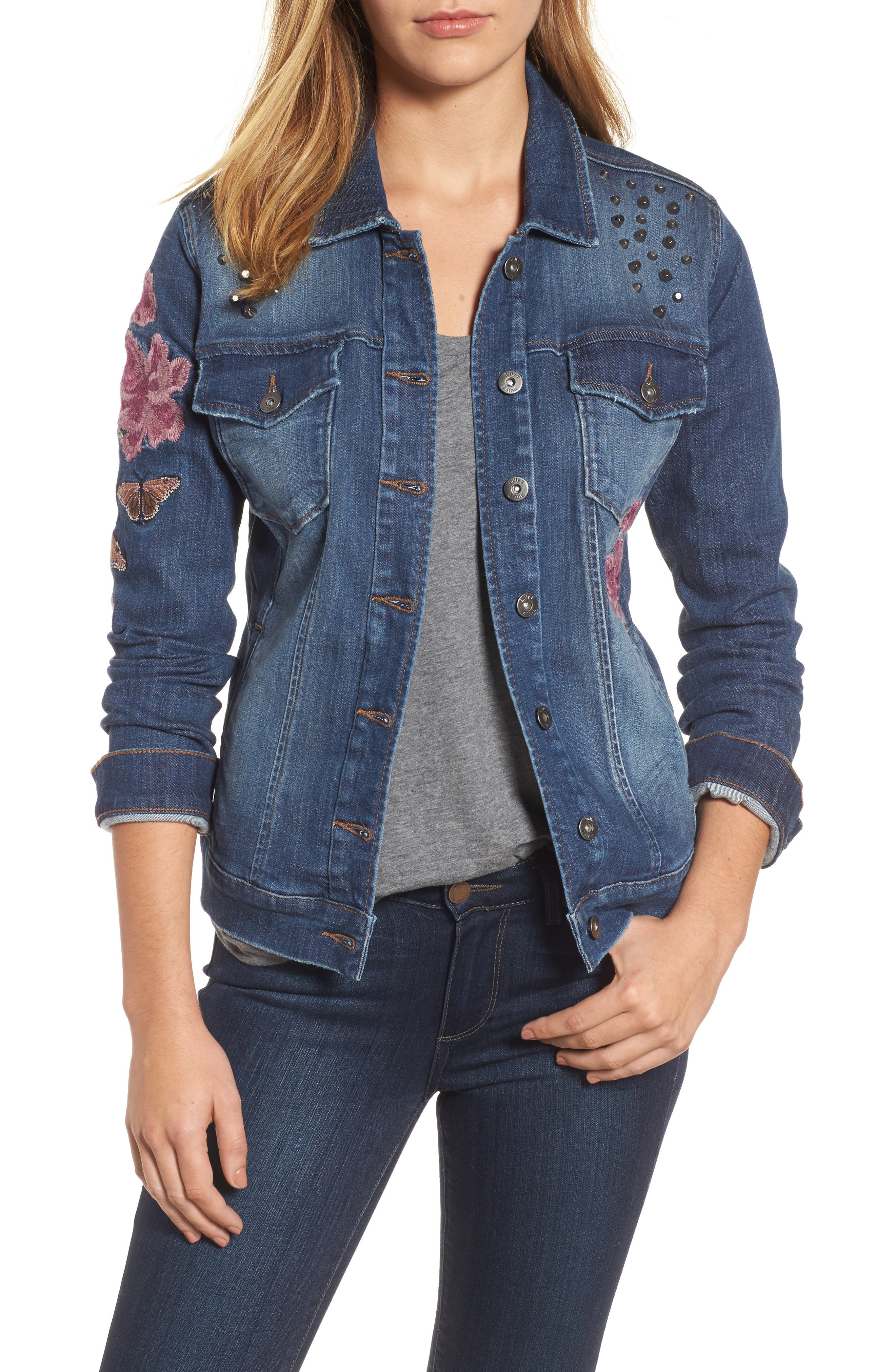 Main Image - Billy T Embroidered Denim Jacket