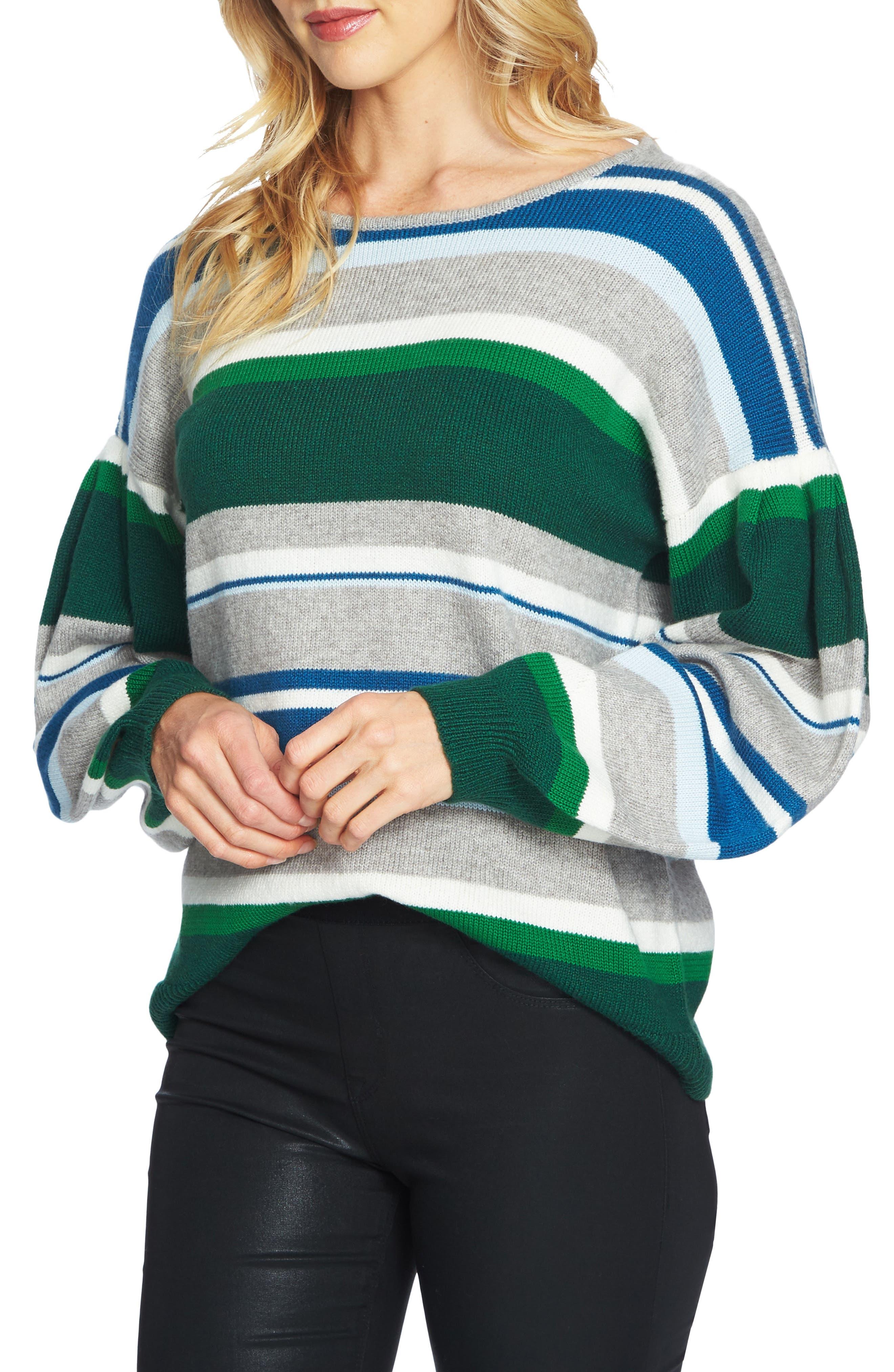 Stripe Balloon Sleeve Sweater,                             Main thumbnail 1, color,                             Light Heather Grey
