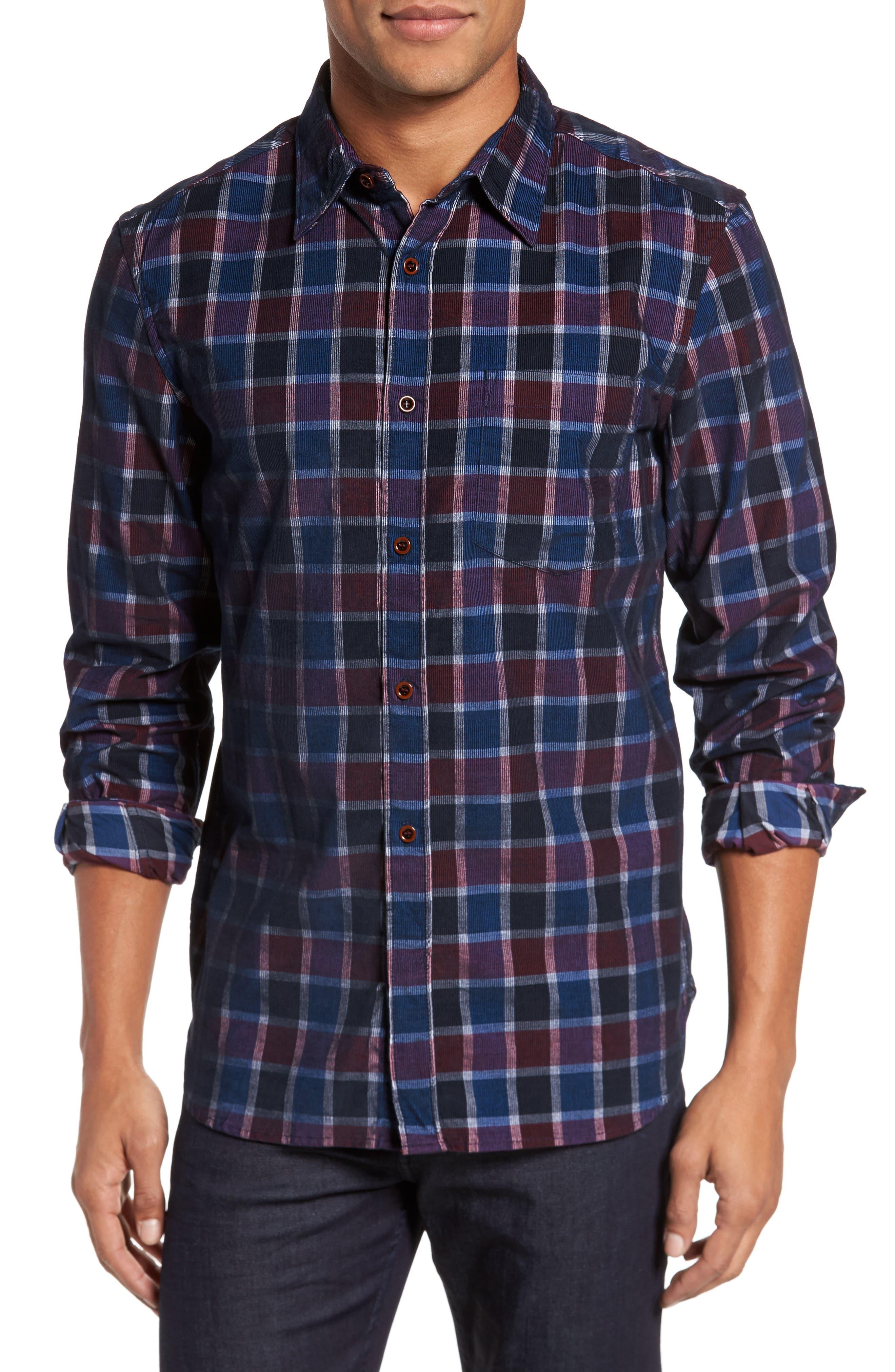 Plaid Corduroy Sport Shirt,                         Main,                         color, Merlot/ Window Check