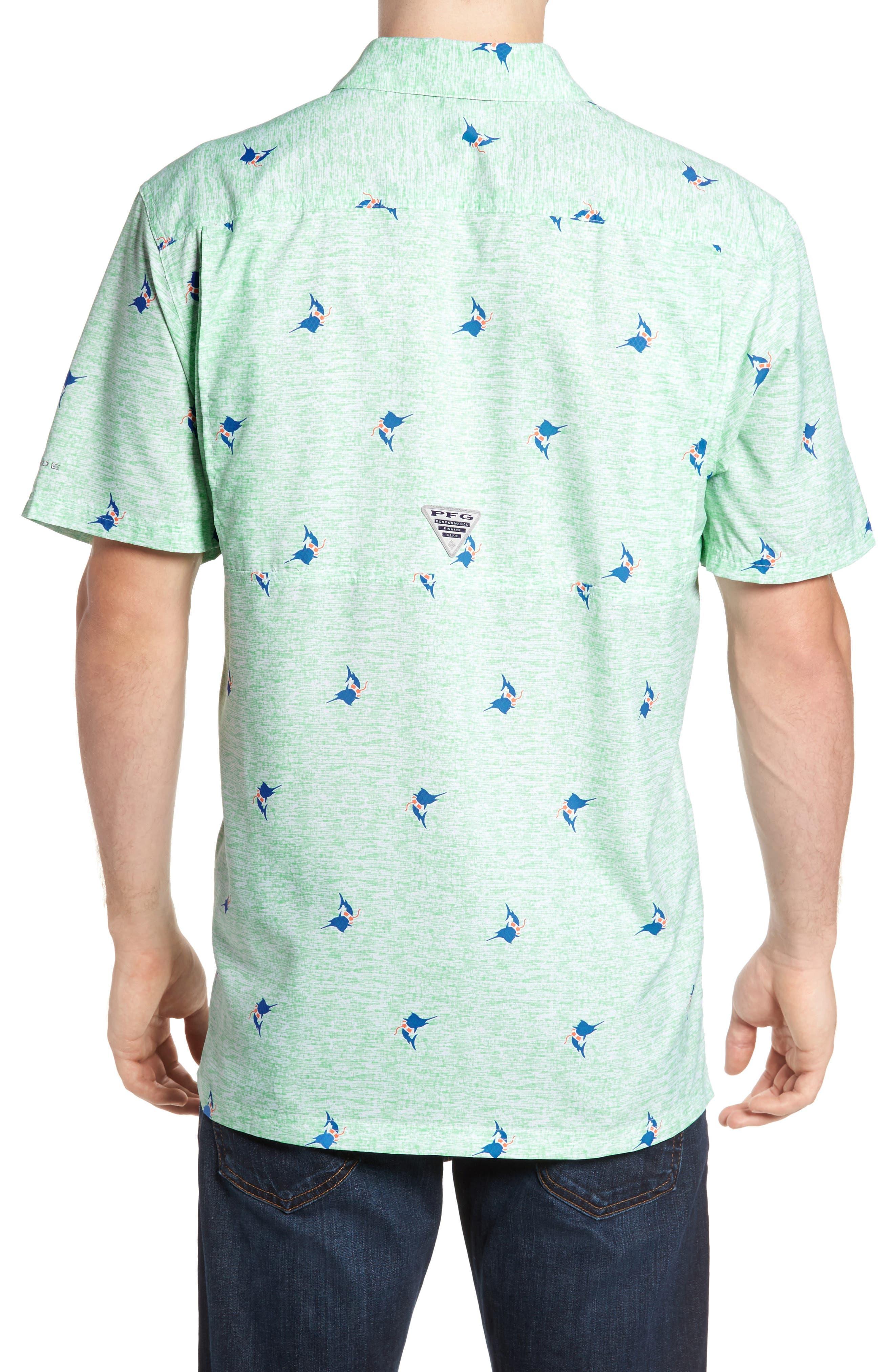 Super Slack Tide Patterned Woven Shirt,                             Alternate thumbnail 2, color,                             Kelp Marlin Print